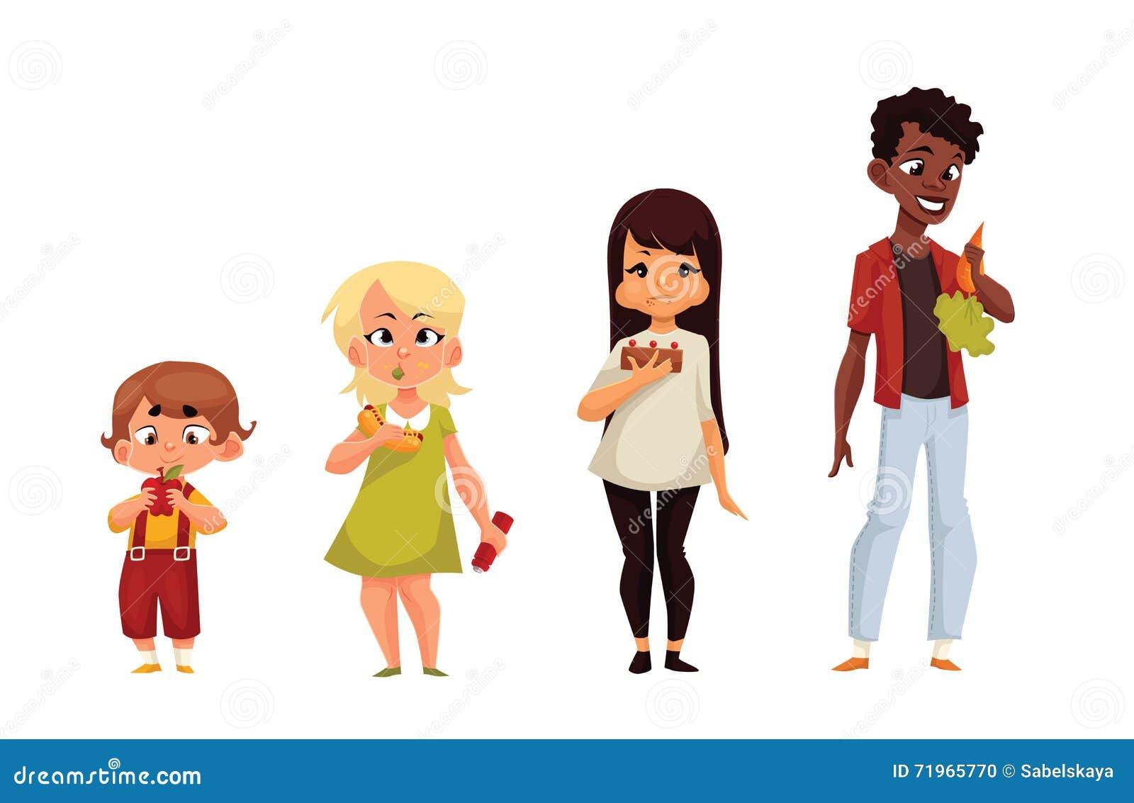 D autres enfants mangent de la nourriture différente