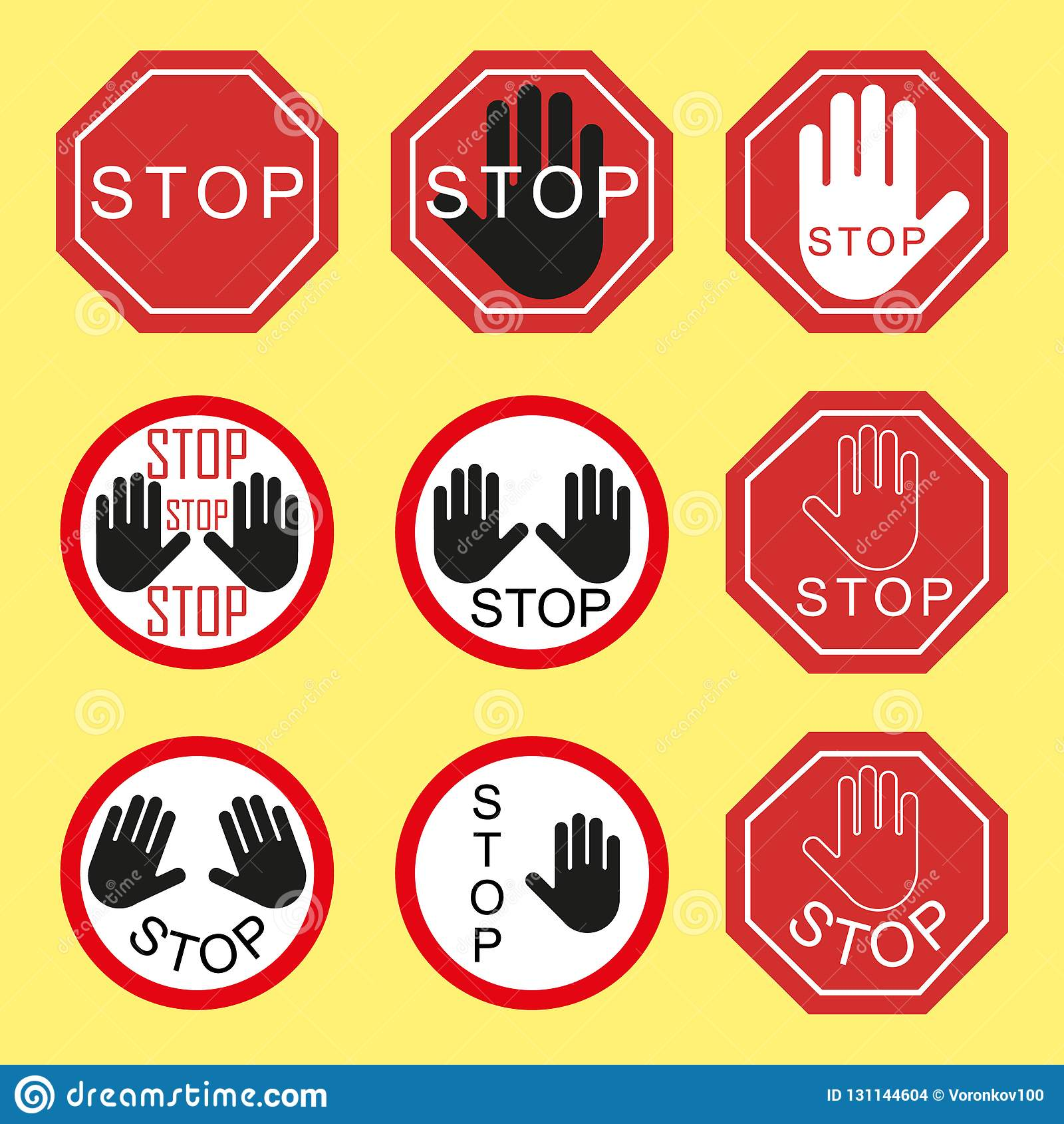 D avertissement et interdisant la signalisation Arrêt du trafic, danger, avertissement Éléments sur un fond d isolement