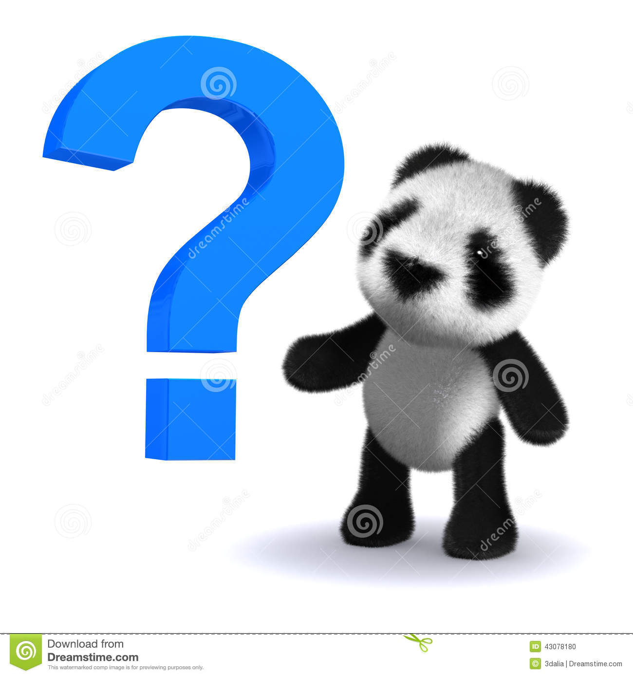 3d Baby Panda Bear With A Question Mark Stock Illustration - Image ...