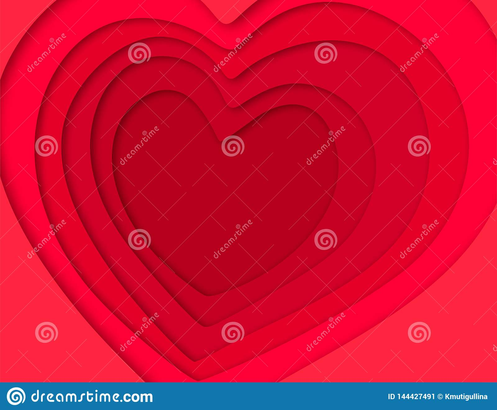 3D background with hearts paper cut
