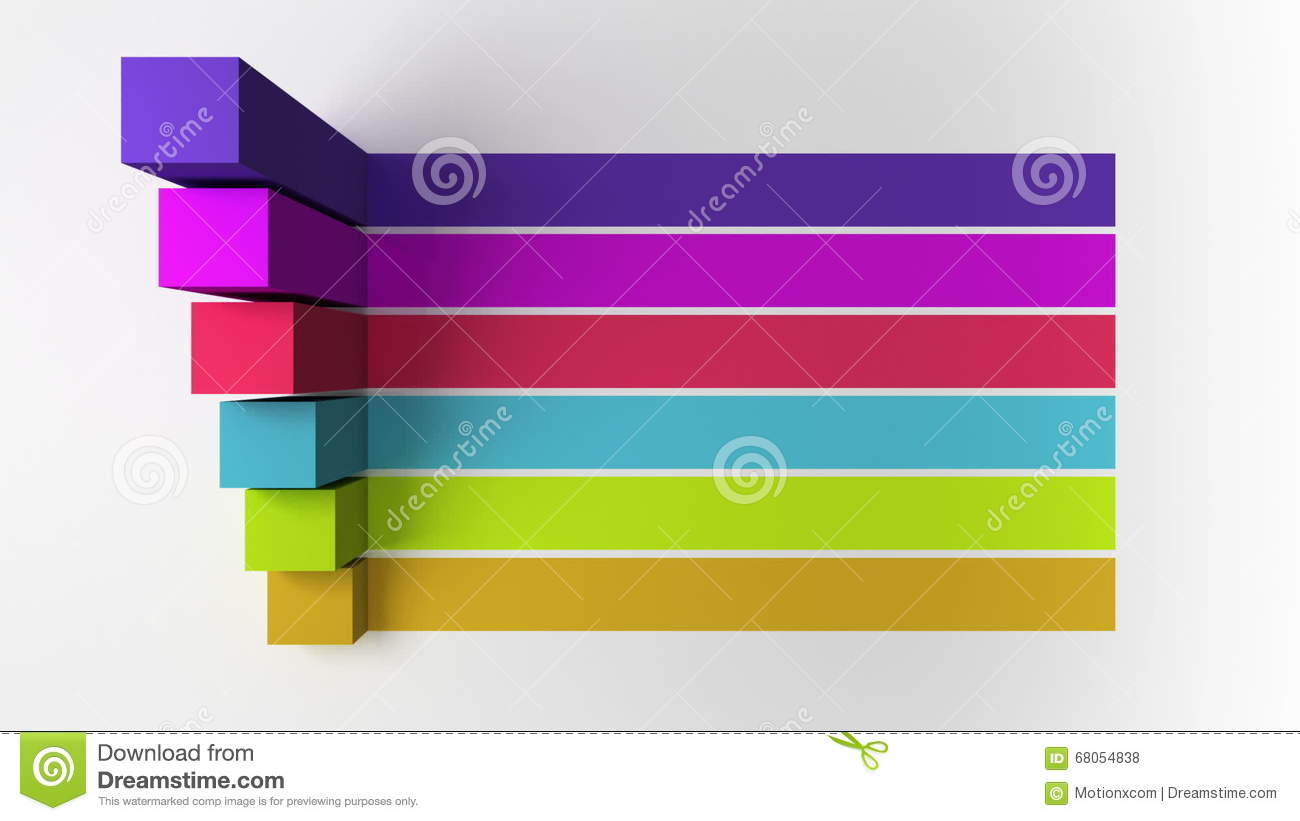 3d bar six square intro title box chart powerpoint presentation
