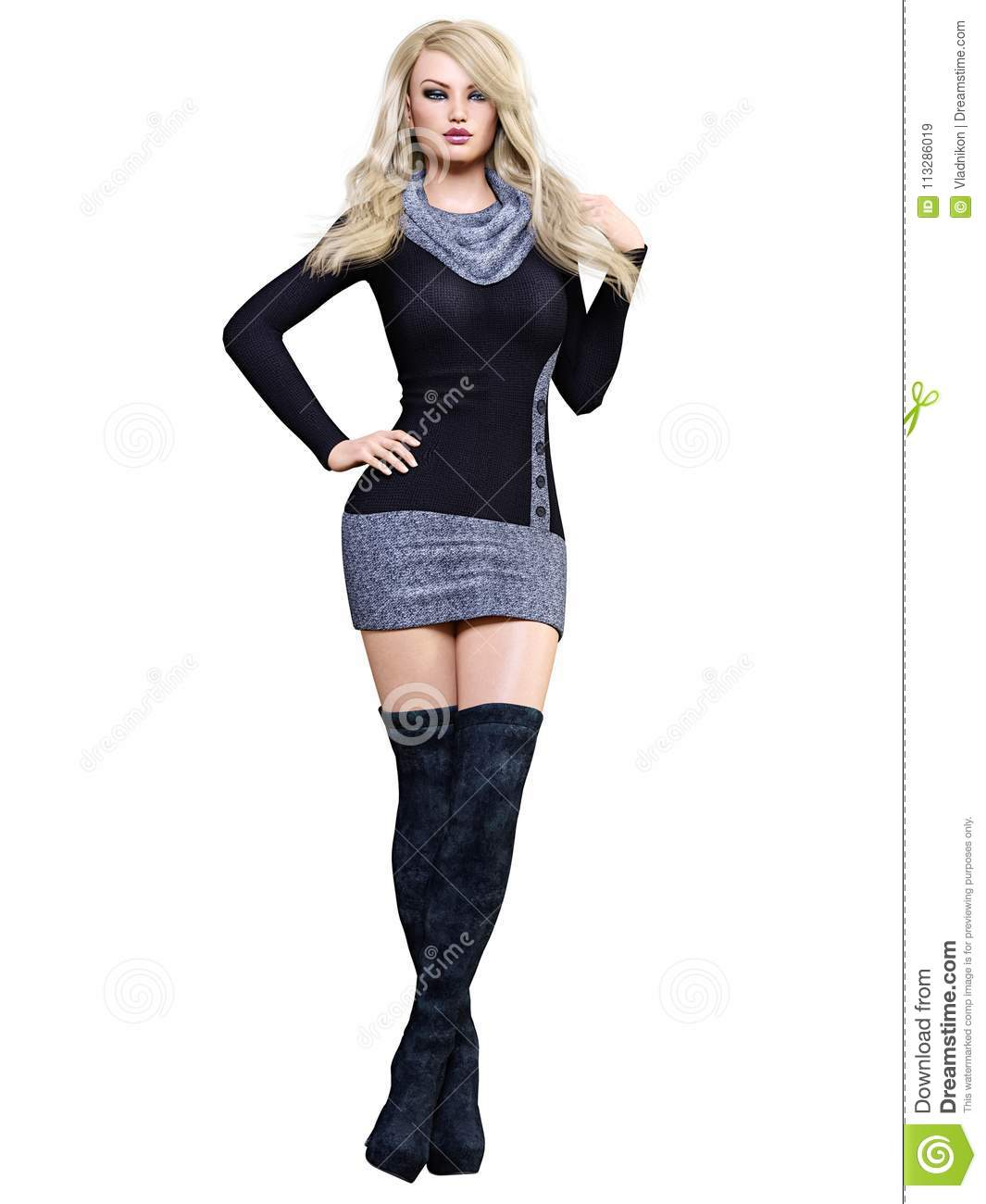 a35305eaf8b 3D beautiful blonde short dress and long boots.Spring-autumn  collection.Bright makeup.Woman studio photography.High heel.Conceptual  fashion art.