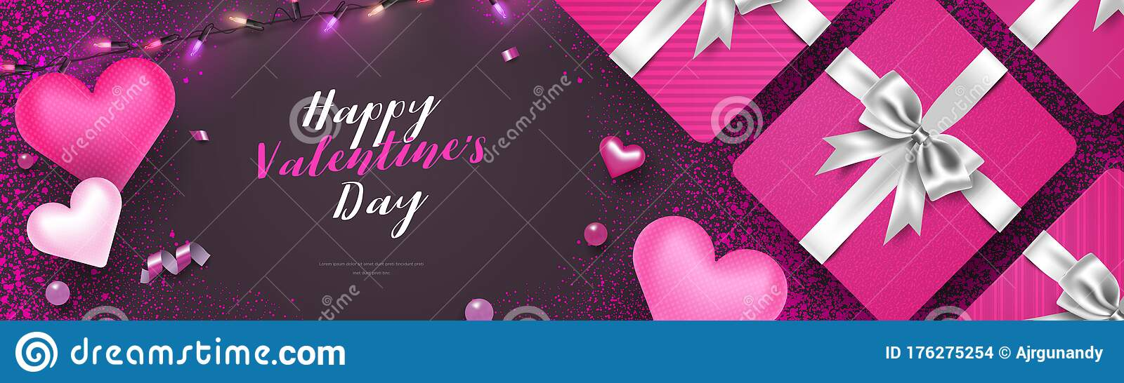 3d Beautiful Valentine S Day Horizontal Background Cover Illustration With Gift Box Hearts Confetti And String Lights Vector Tem Stock Vector Illustration Of Header Beautiful 176275254
