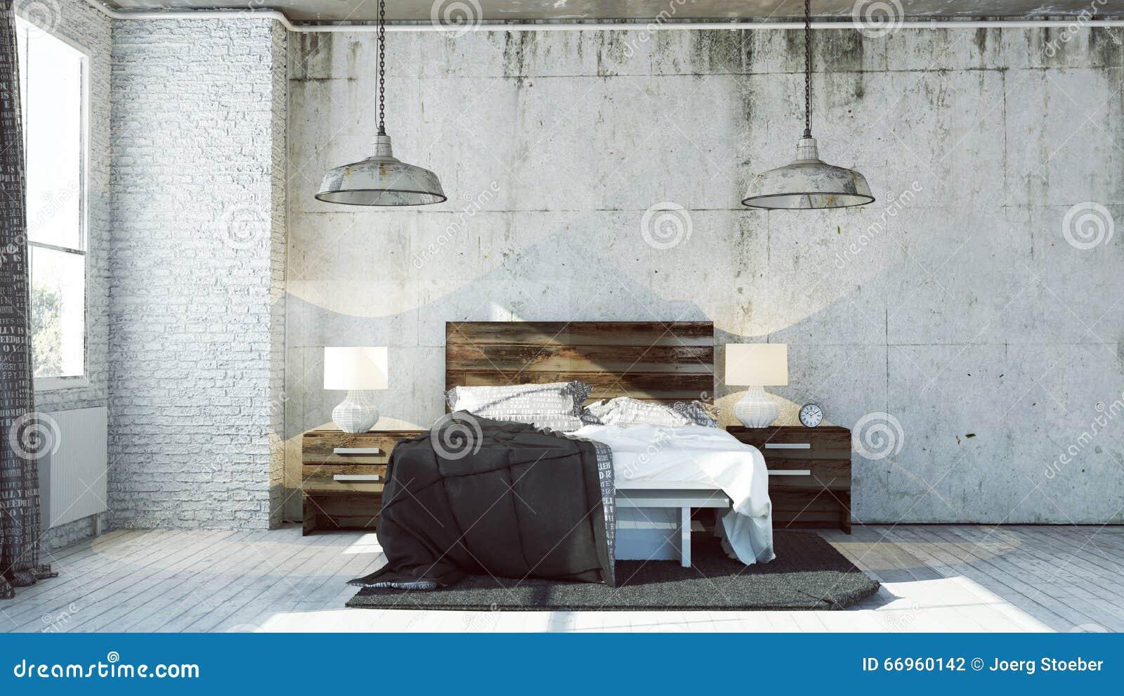 3d bedroom in industrial look stock illustration for Dormitorios industriales