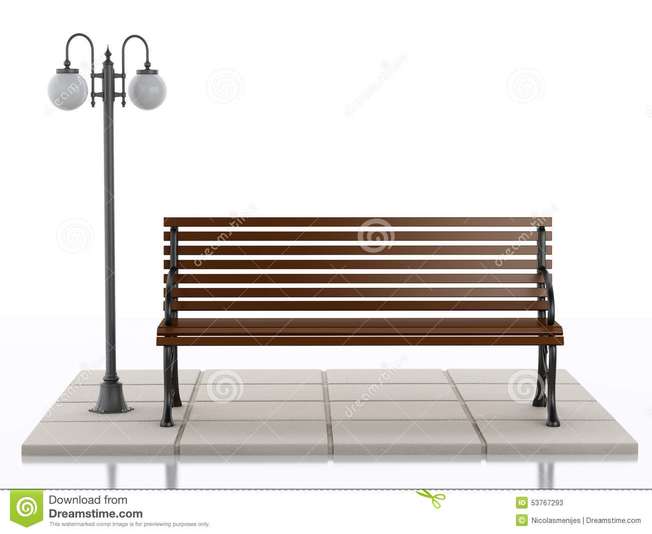 3d Bench And Street Lamp On White Background Stock ...