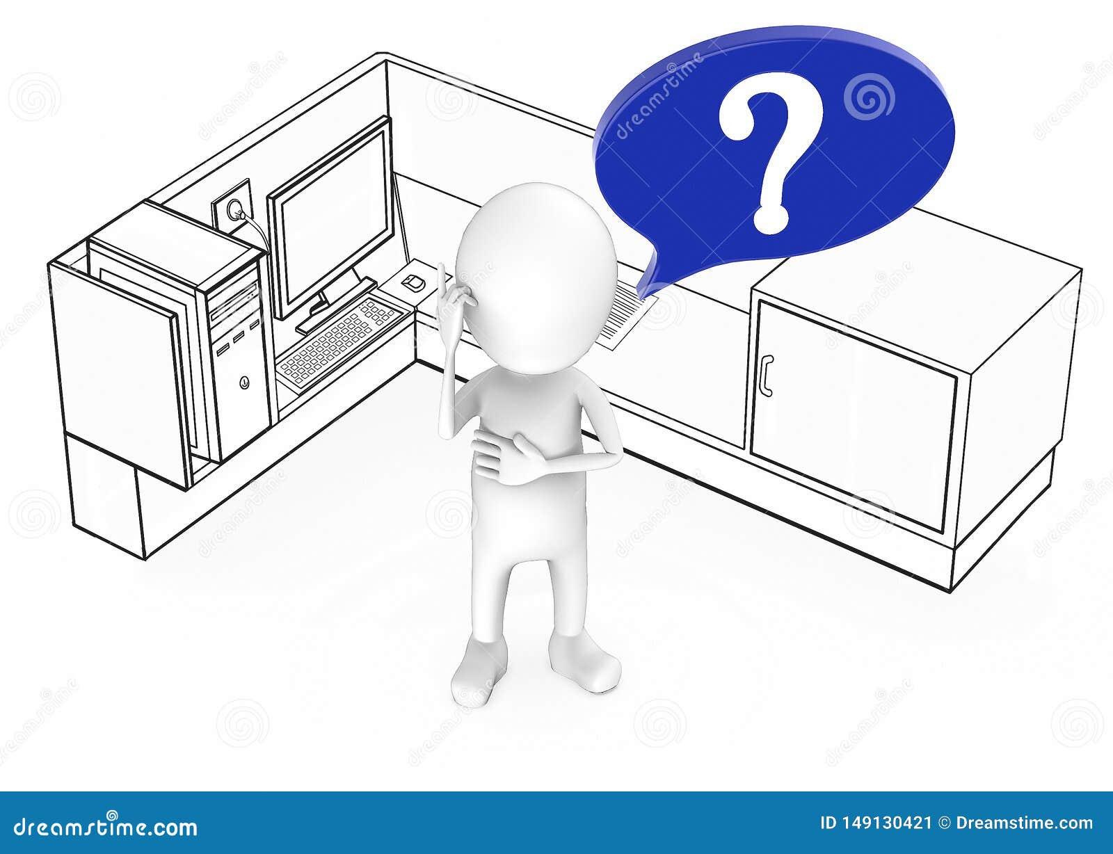 3d bia?y facet z znak zapytania w mowa b?bla pozycji w?rodku biurowej kabinki