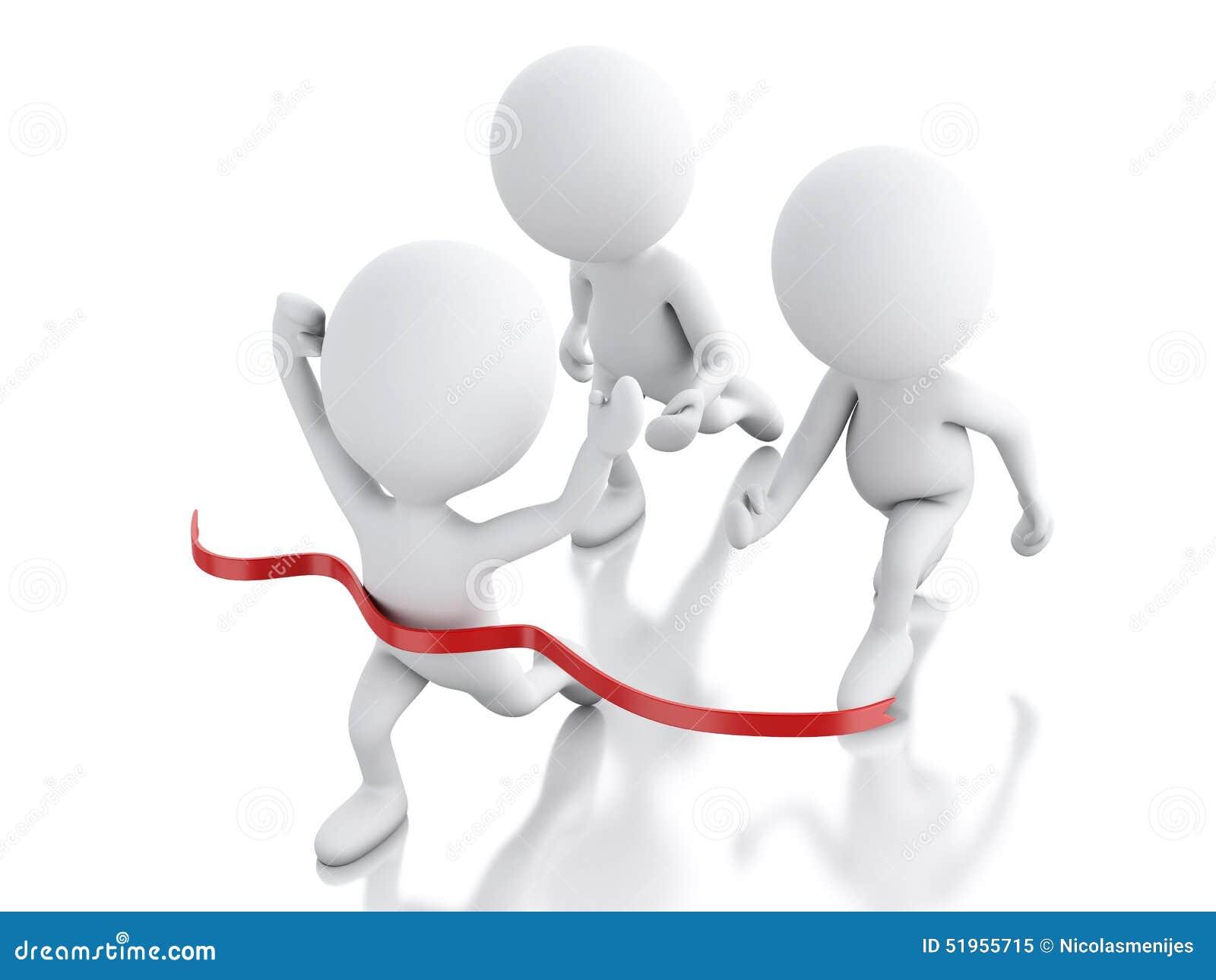 3d biali ludzie krzyżuje wykończeniową linię succes pojęcie