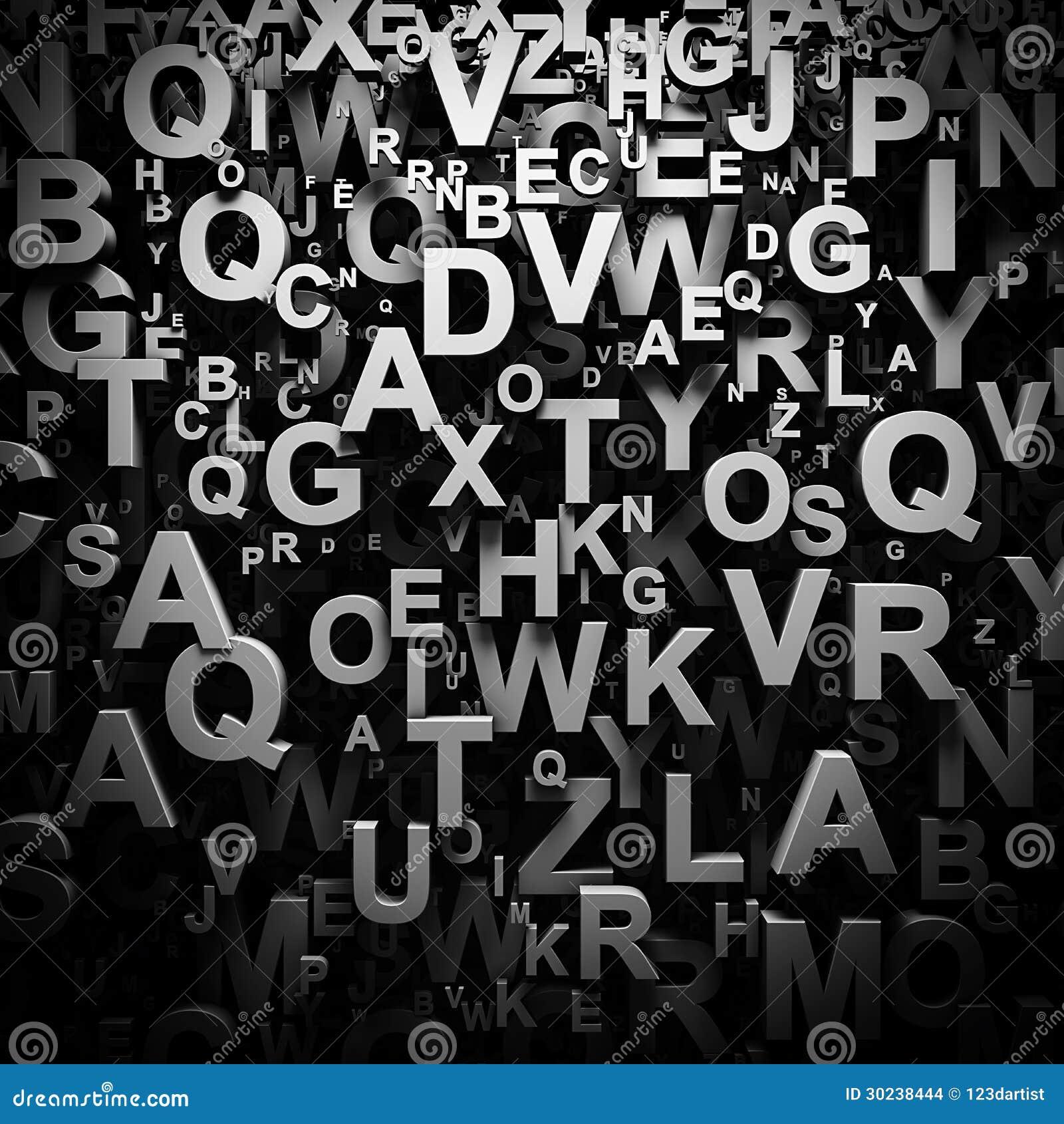 3d segna la carta da parati con lettere illustrazione di