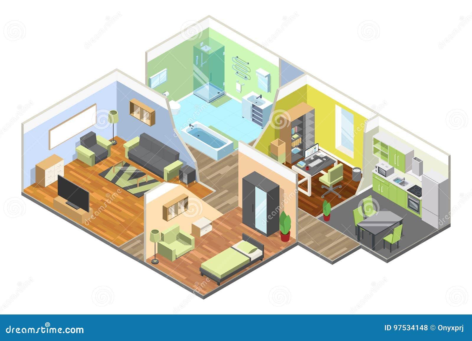 3d binnenland van modern huis met keuken, woonkamer, badkamers en slaapkamer Isometrische geplaatste illustraties