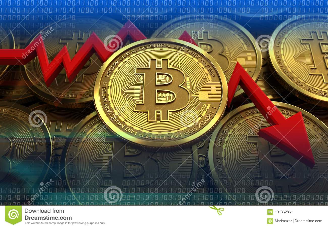 3d illustration of bitcoin over coins stacks background with failure diagram