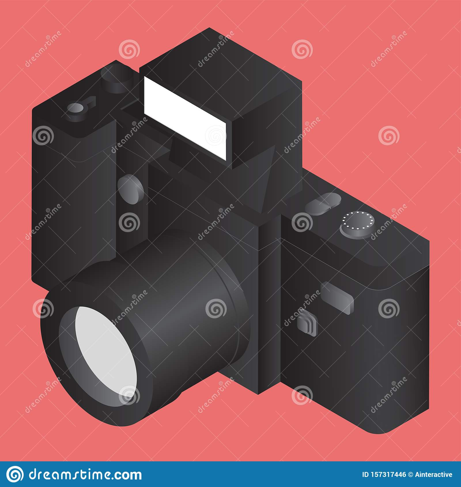 3D black camera on orange.