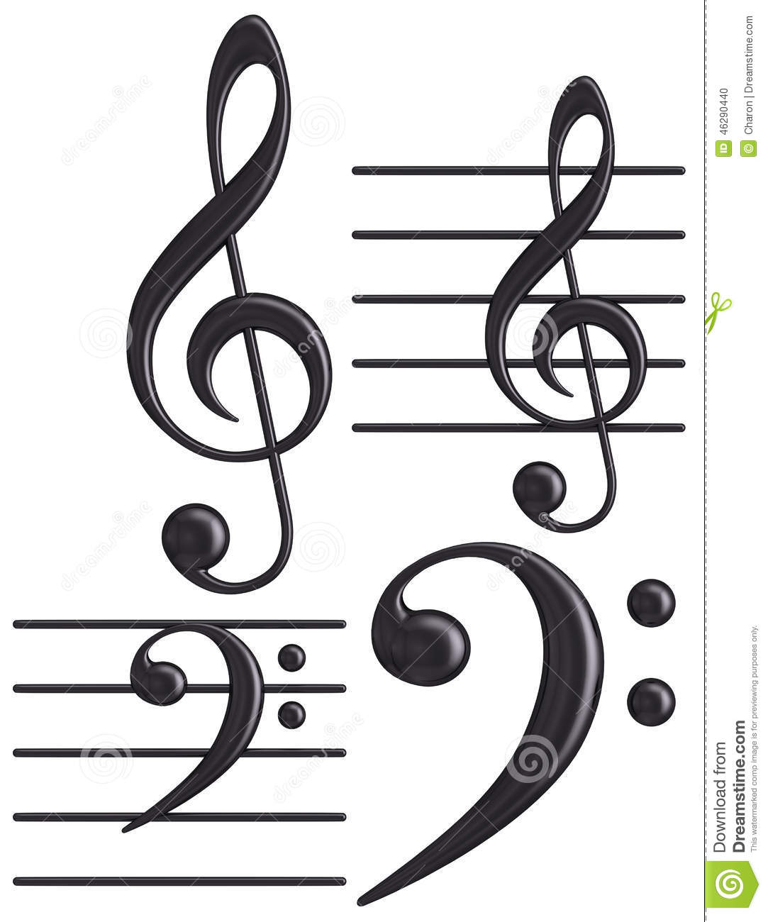 3d Black G And F Clef Musical Symbols Stock Photo Illustration Of