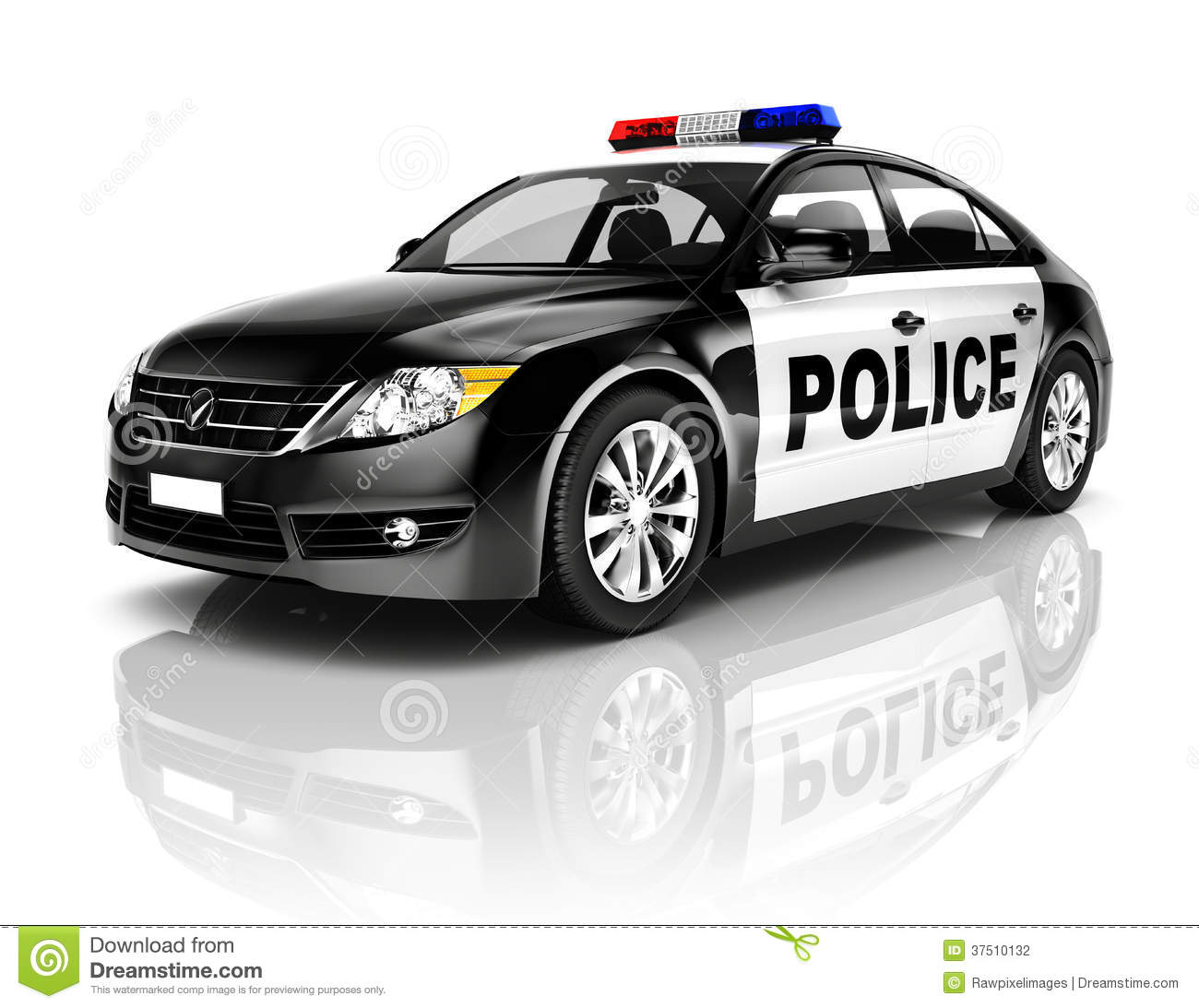 3d Black Police Car On White Background Stock Photography