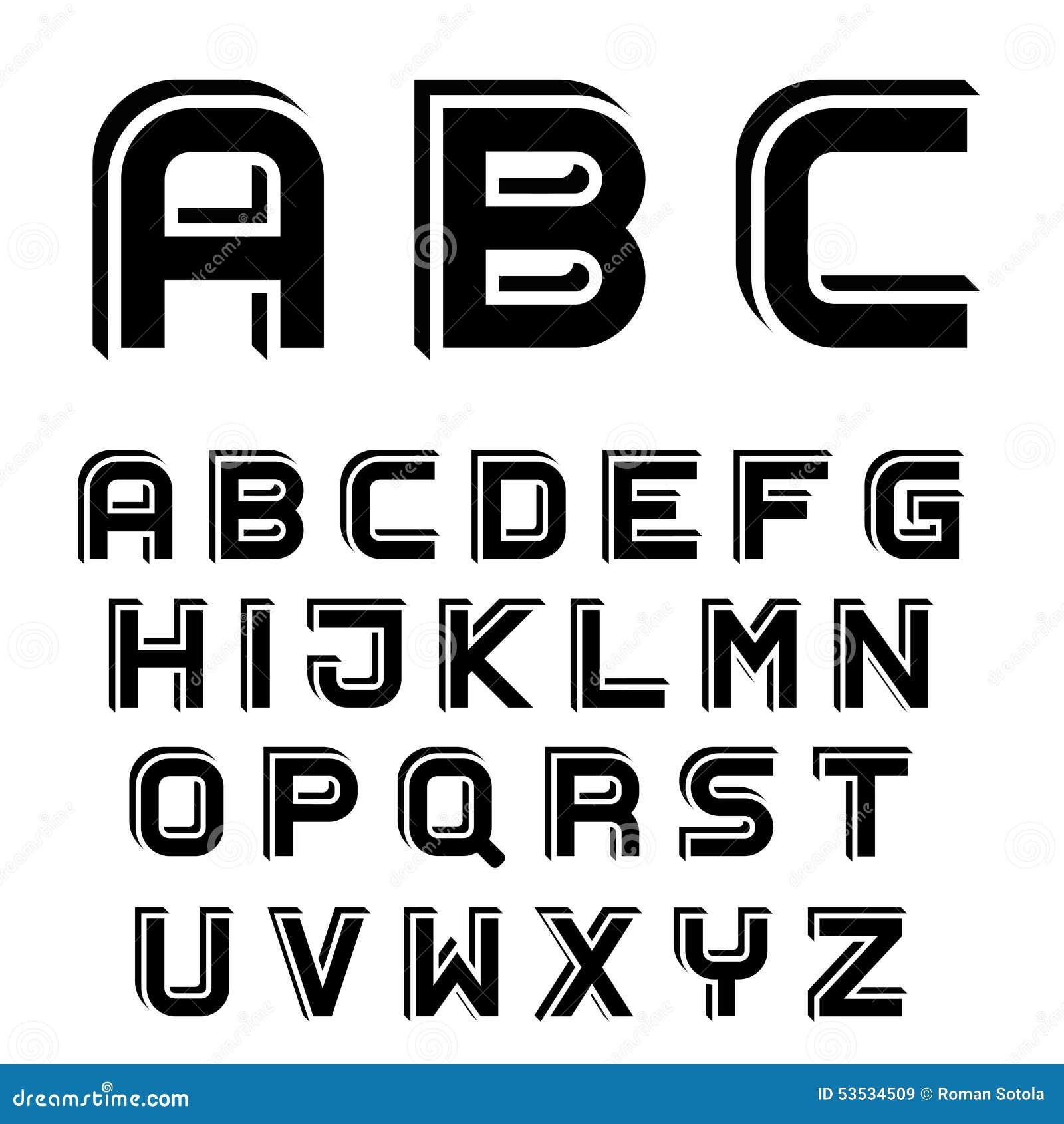 3D black simple font alphabet letters