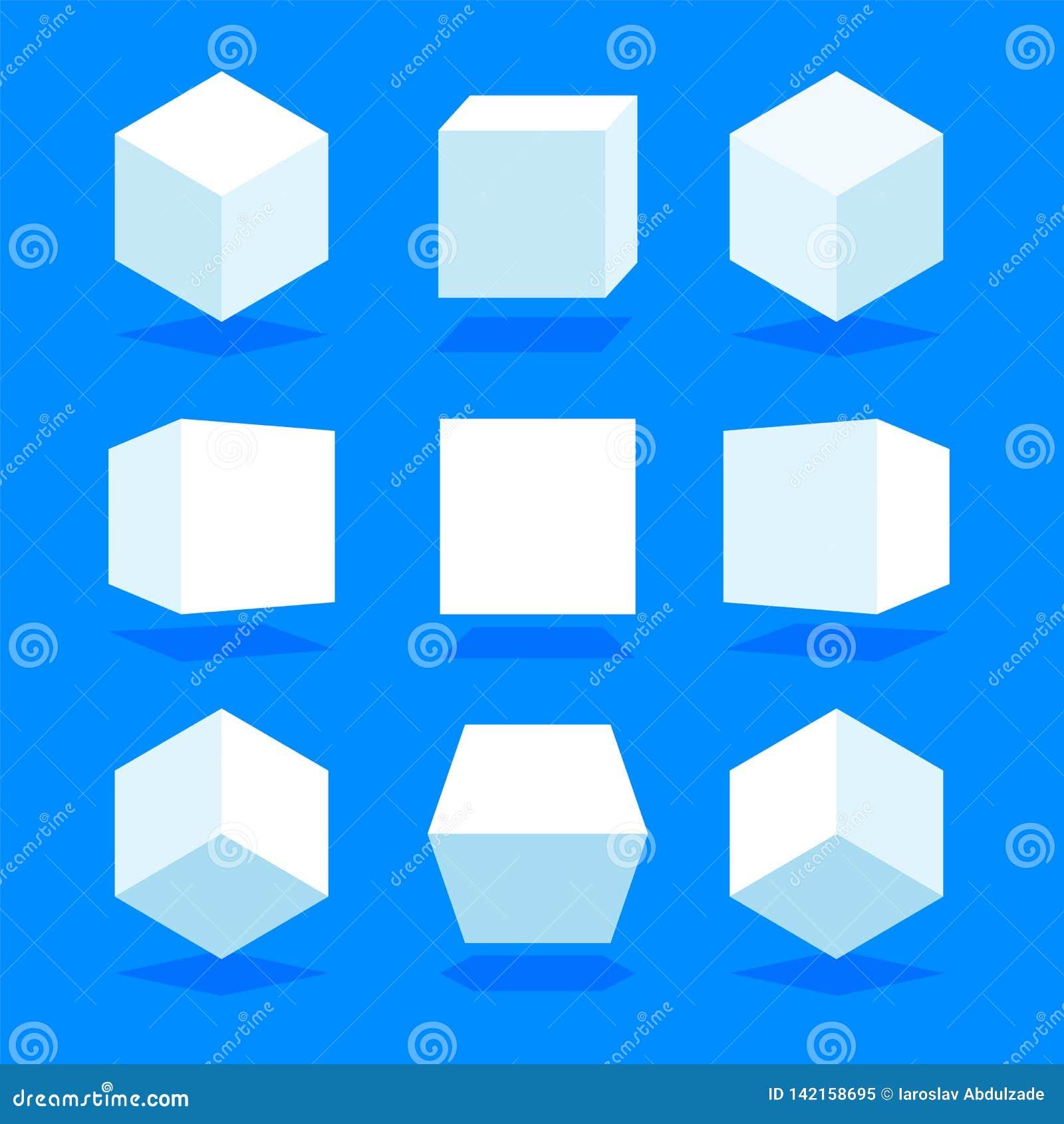 3D blanco cubica el paquete aislado en fondo azul Diversos luz, perspectiva y ángulo Ilustración del vector