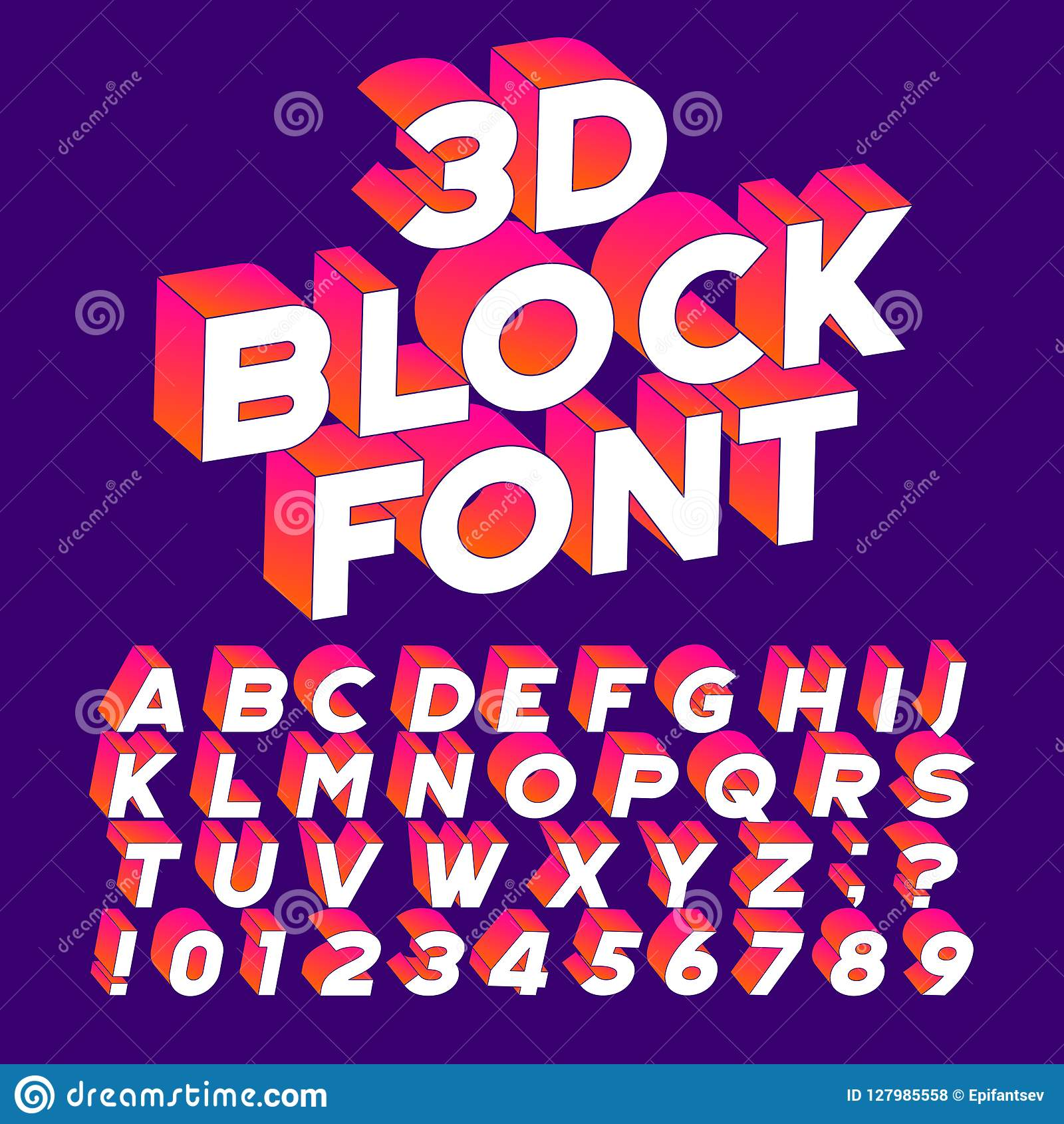 3d Block Alphabet Font Three Dimensional Effect Letters Numbers