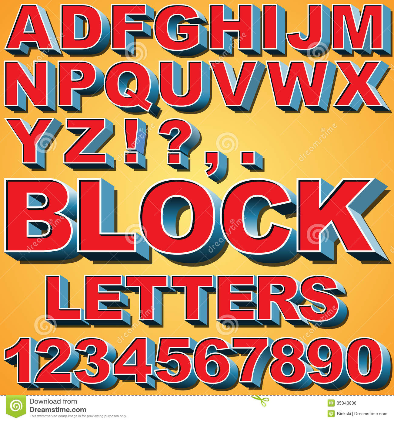 3d Block Letters Stock Vector Illustration Of Alphabet 35343806