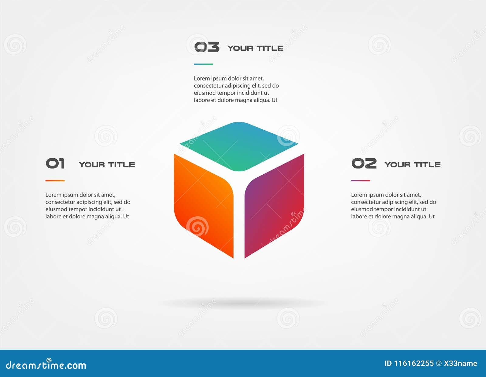 3d blokuje infographics krok po kroku Element mapa, wykres, diagram z 3 opcjami - części, procesy, linia czasu