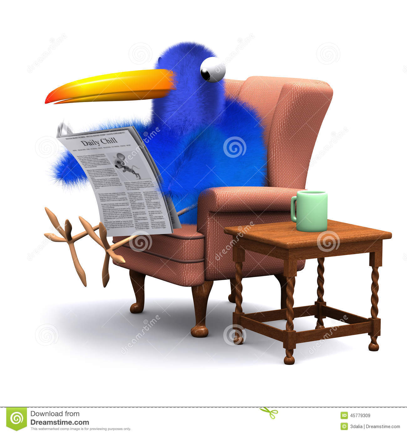 3d Blue Bird Reads The Paper In A Comfortable Chair Stock