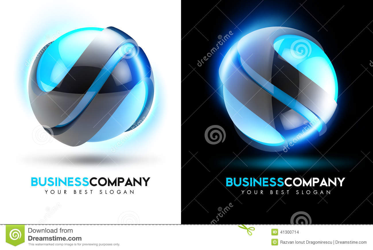 3D Blue Business Logo
