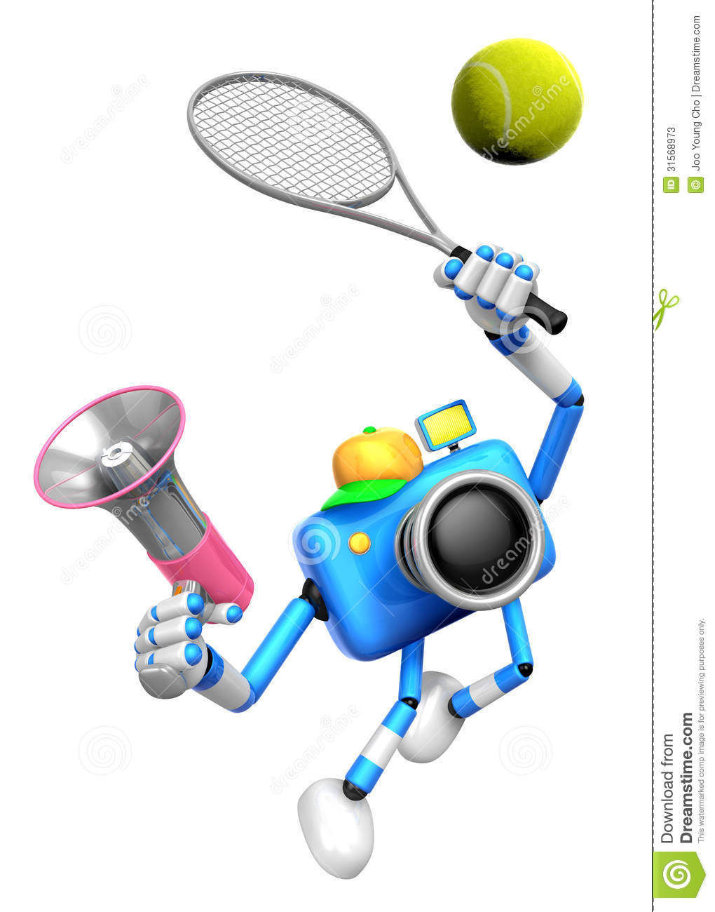3d Blue Camera Character Is A Powerful Tennis Game Play