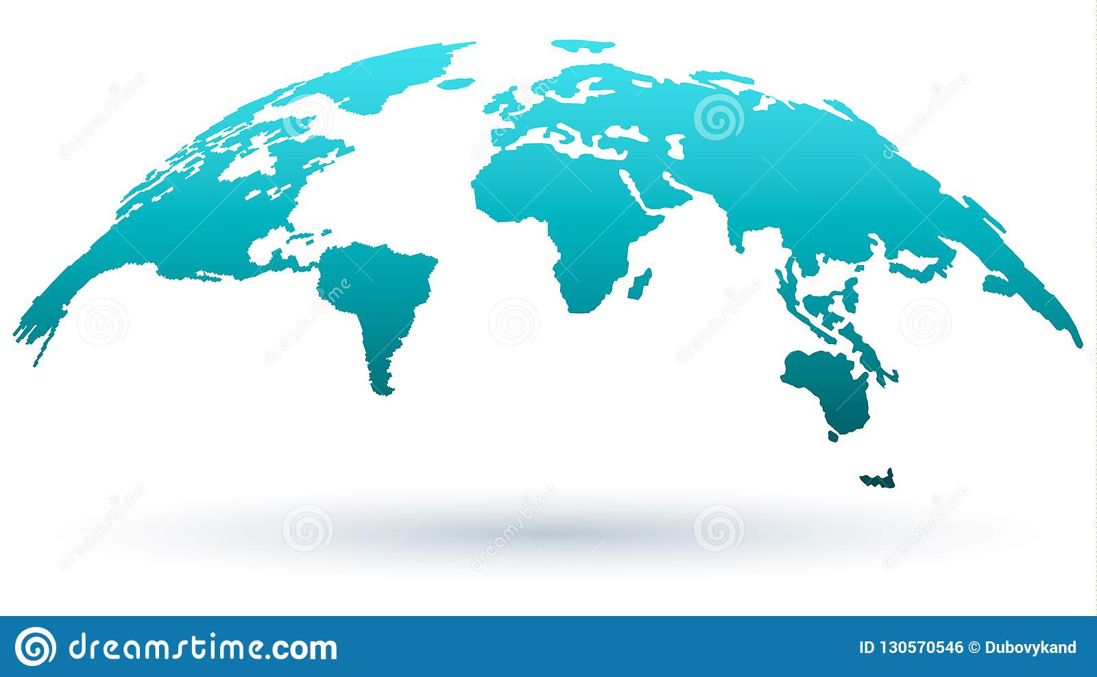 3d blue globe map with earth continents silhouette stock