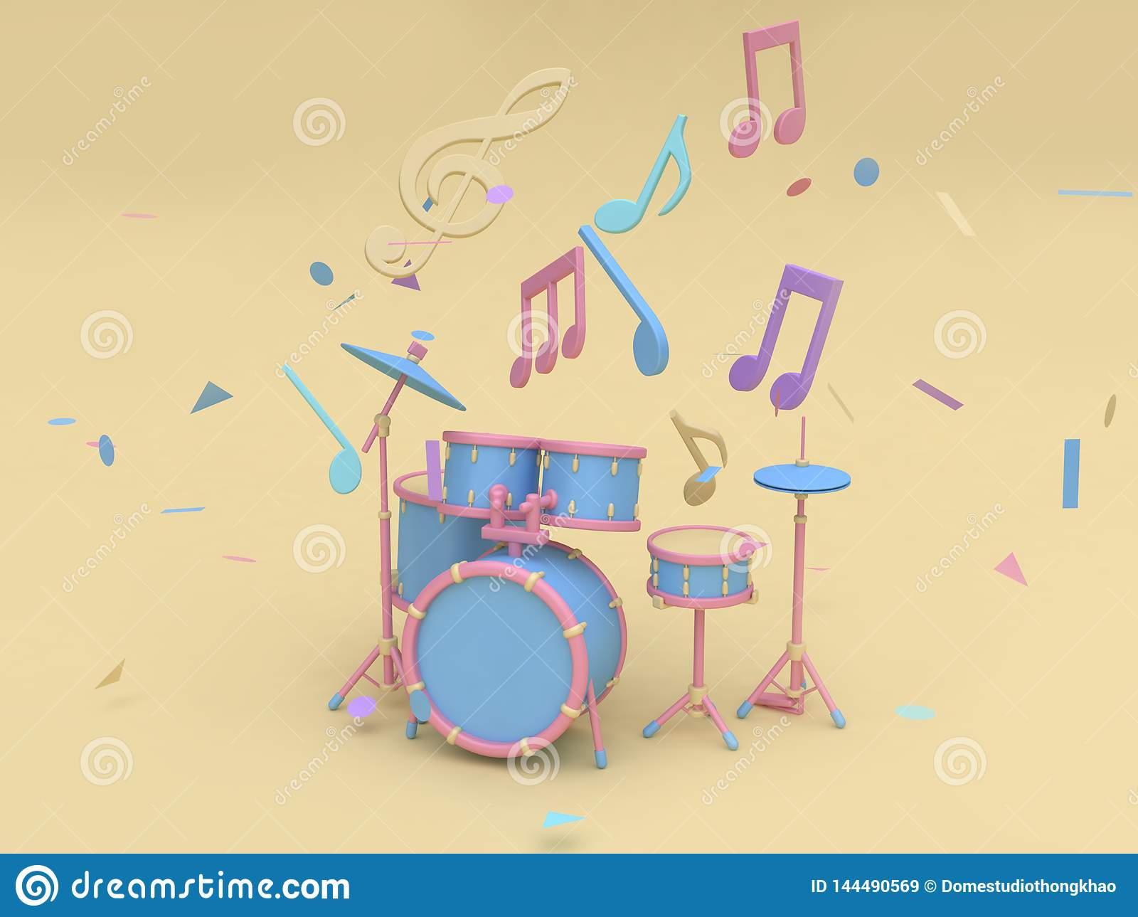 Blue-pink Radio Drum Set With Many Music Note,key Sol