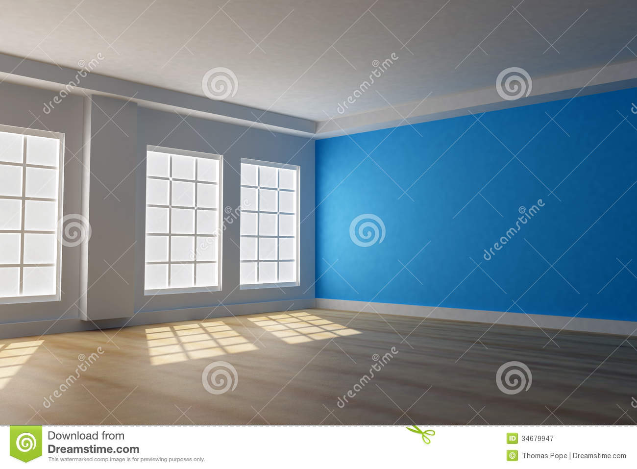 3d blue room with windows stock illustration illustration of house