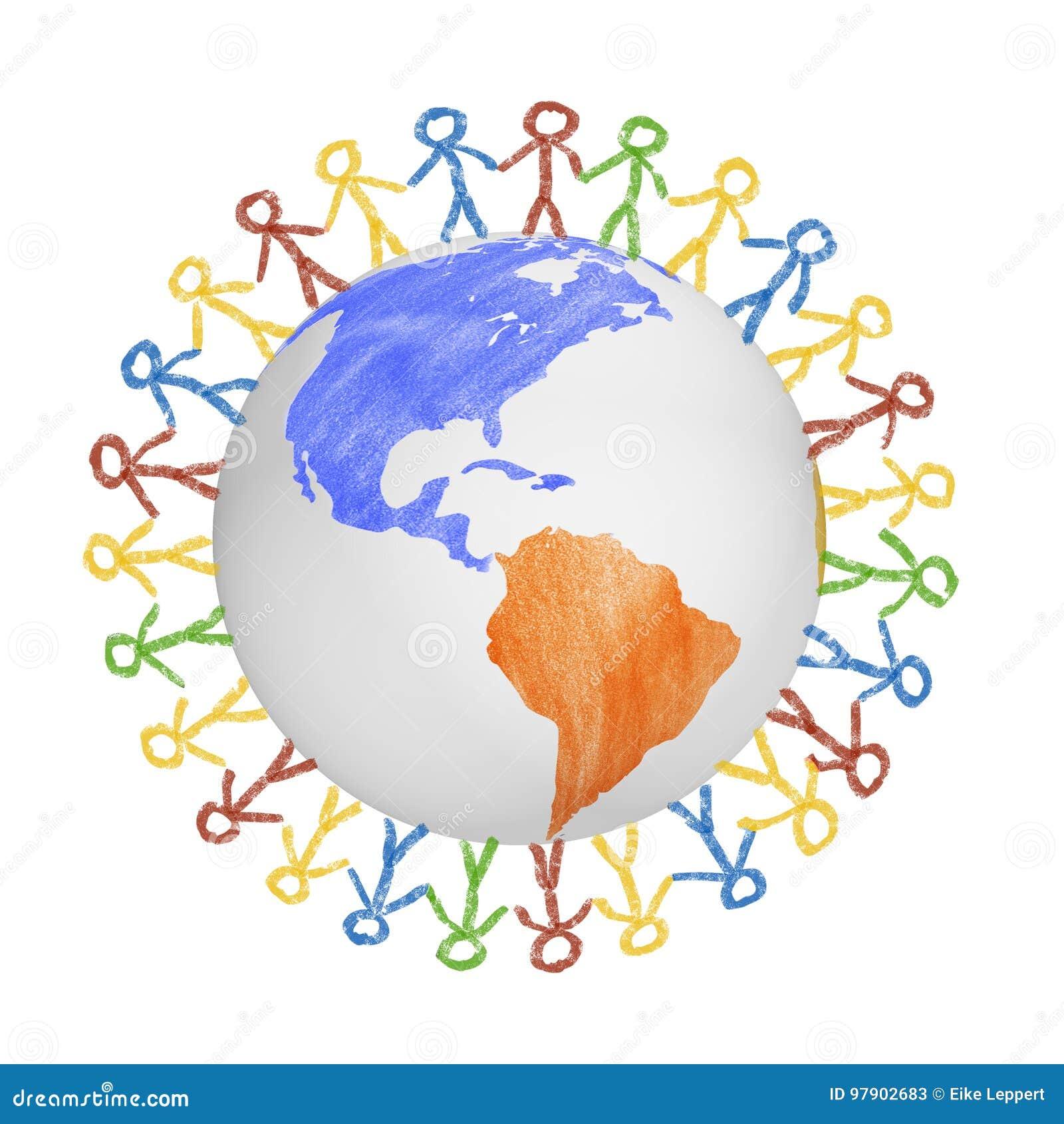 3D Bol met de mening over Amerika met getrokken mensen die handen houden Concept voor vriendschap, globalisering, mededeling