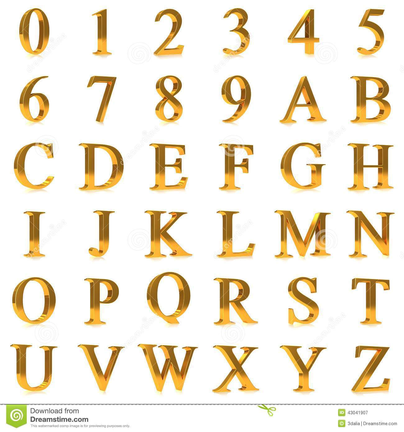 3d bold gold letters and numbers stock illustration illustration