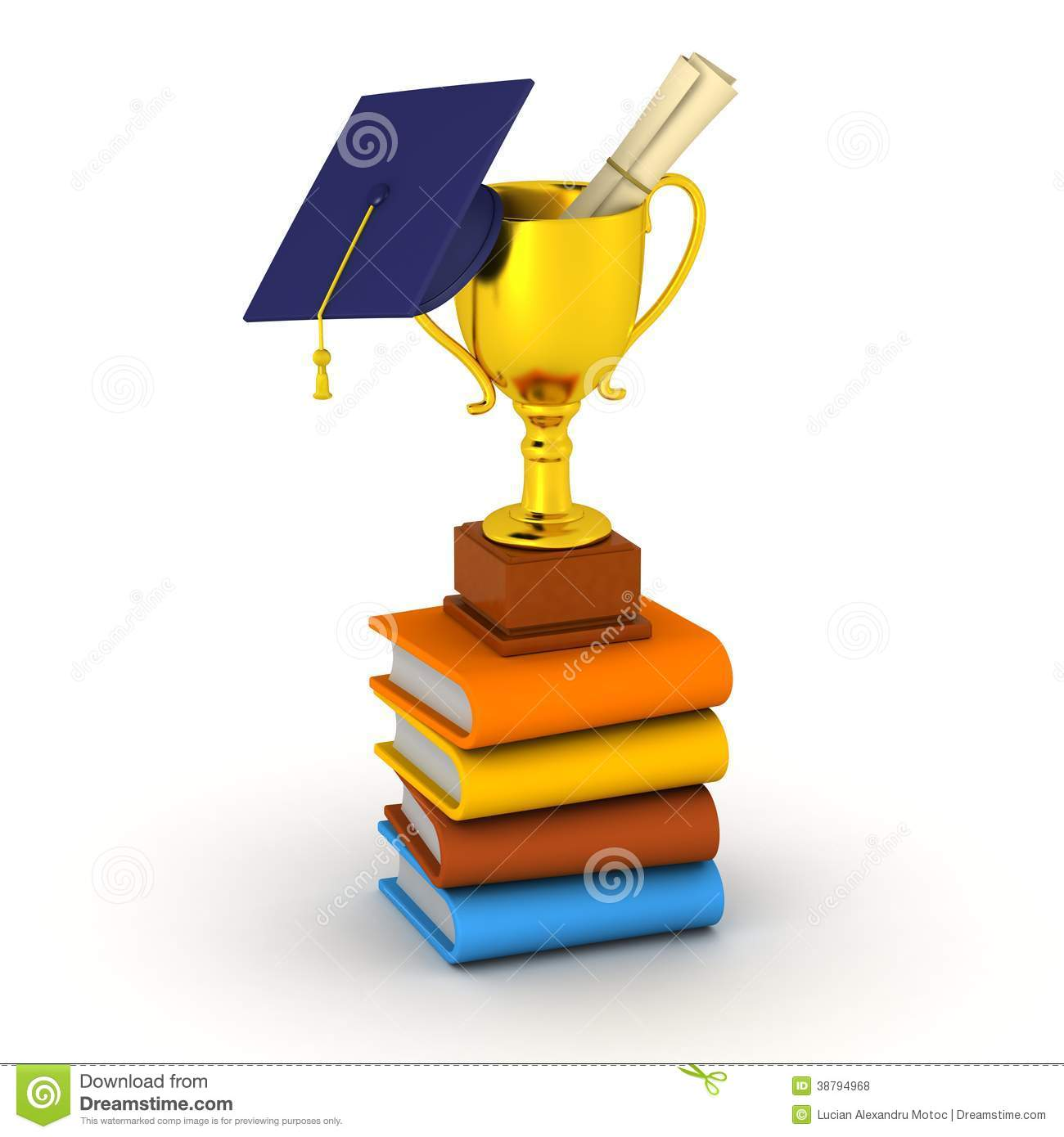 3D Books, golden trophy, diploma, and graduation cap, isolated on ...