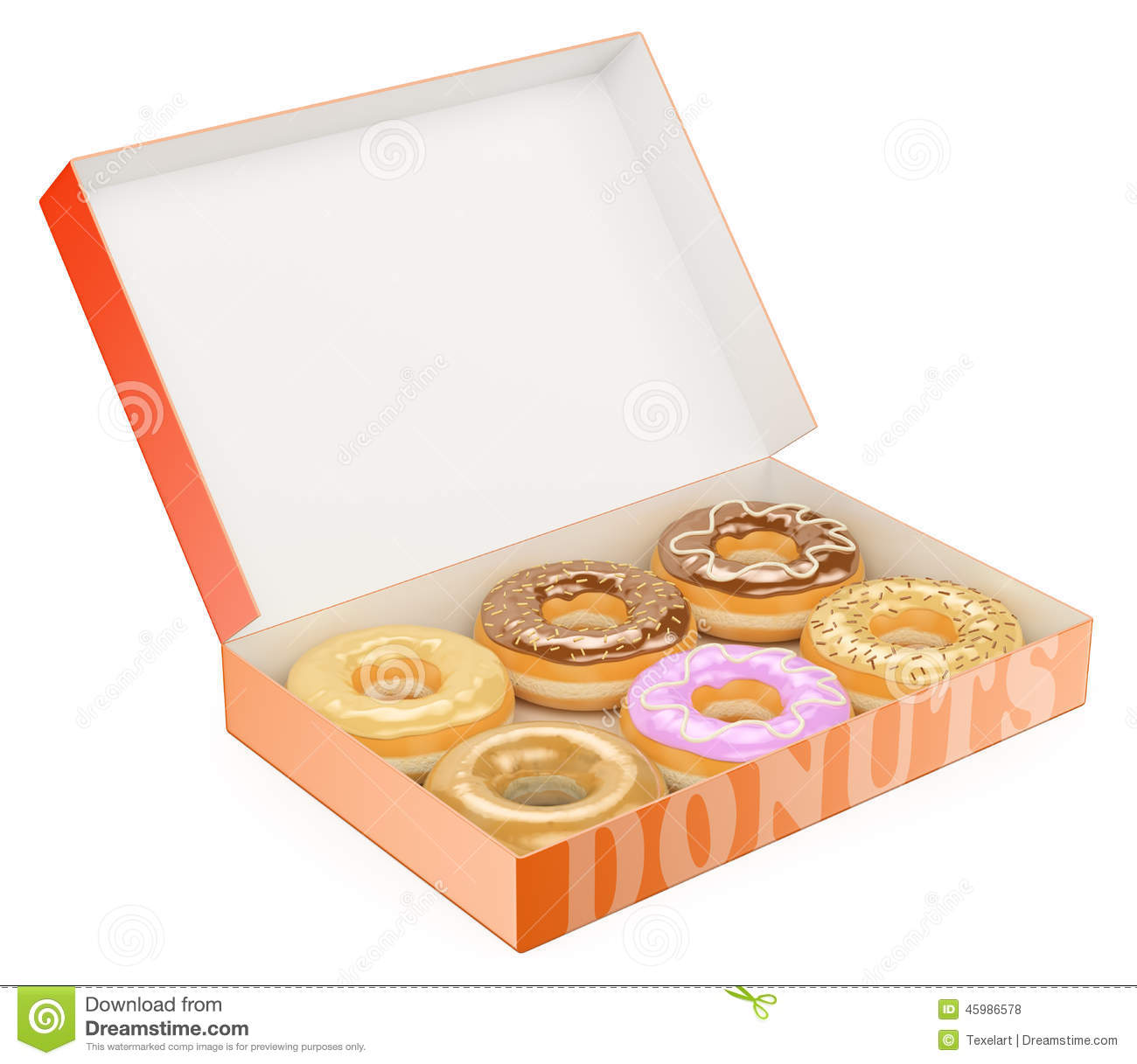 3D Box of donuts stock illustration. Illustration of candy - 45986578
