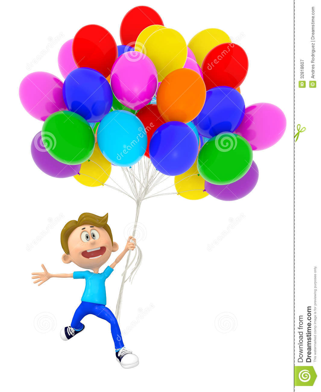 3d boy with balloons stock illustration  image of child