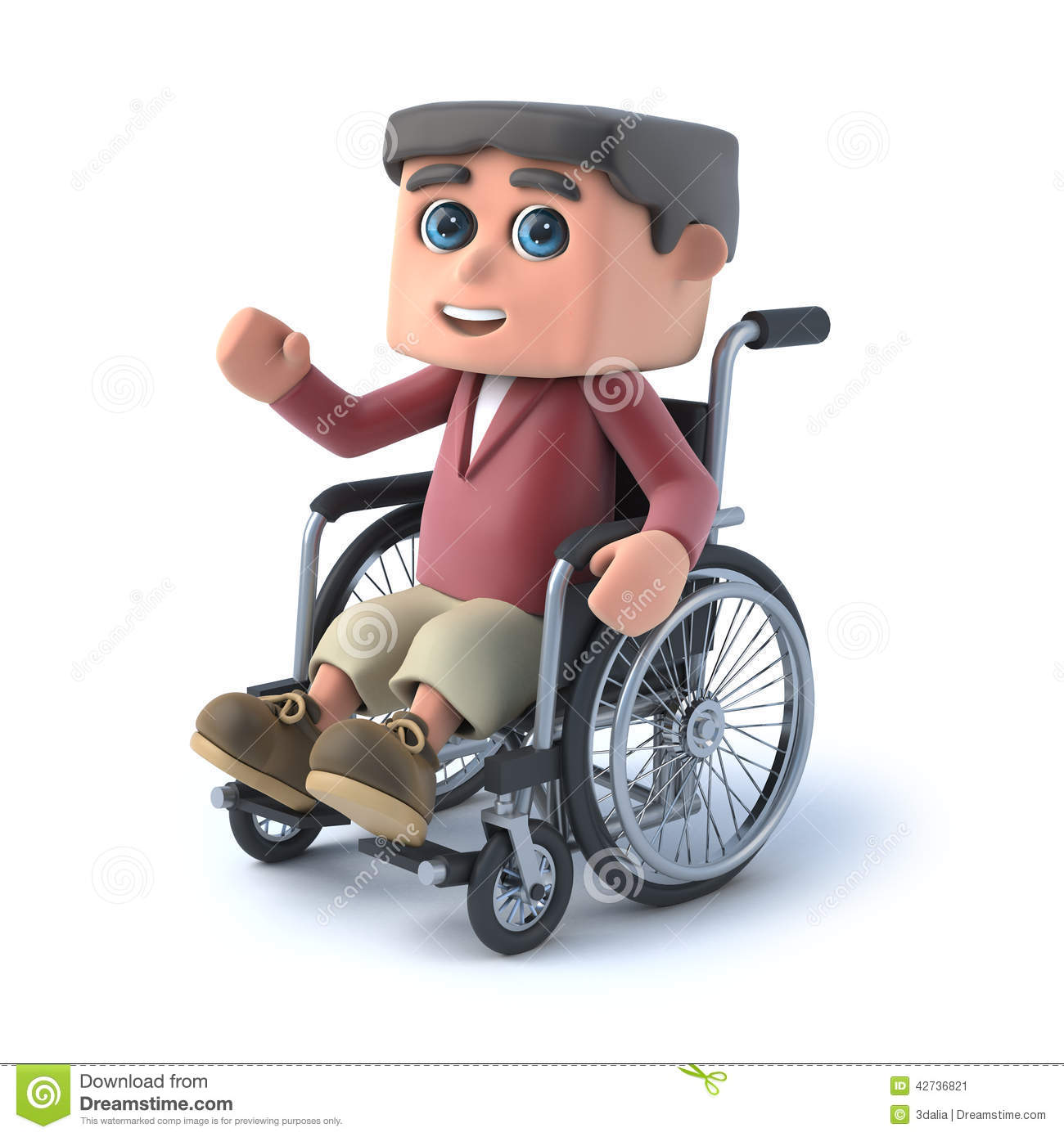 3d Boy In Wheelchair Is Waving Hello Stock Illustration - Image ...