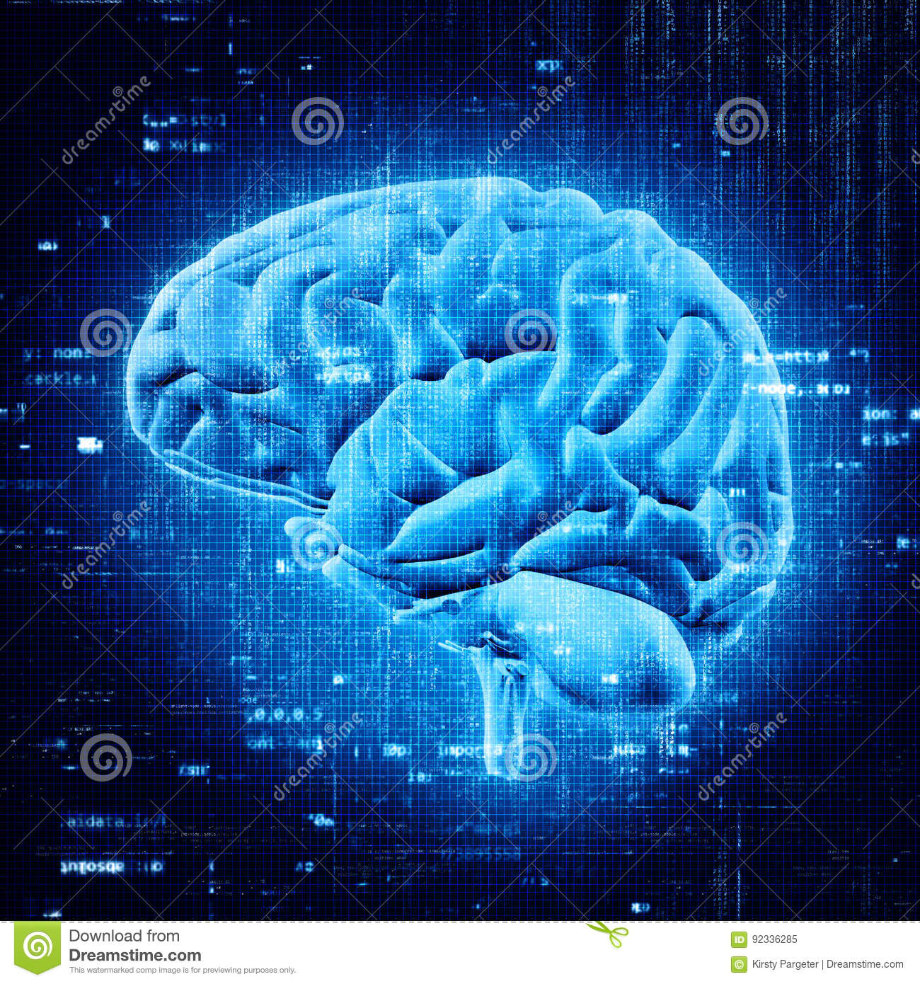 3D Brain With Abstract Programming Code Stock Illustration