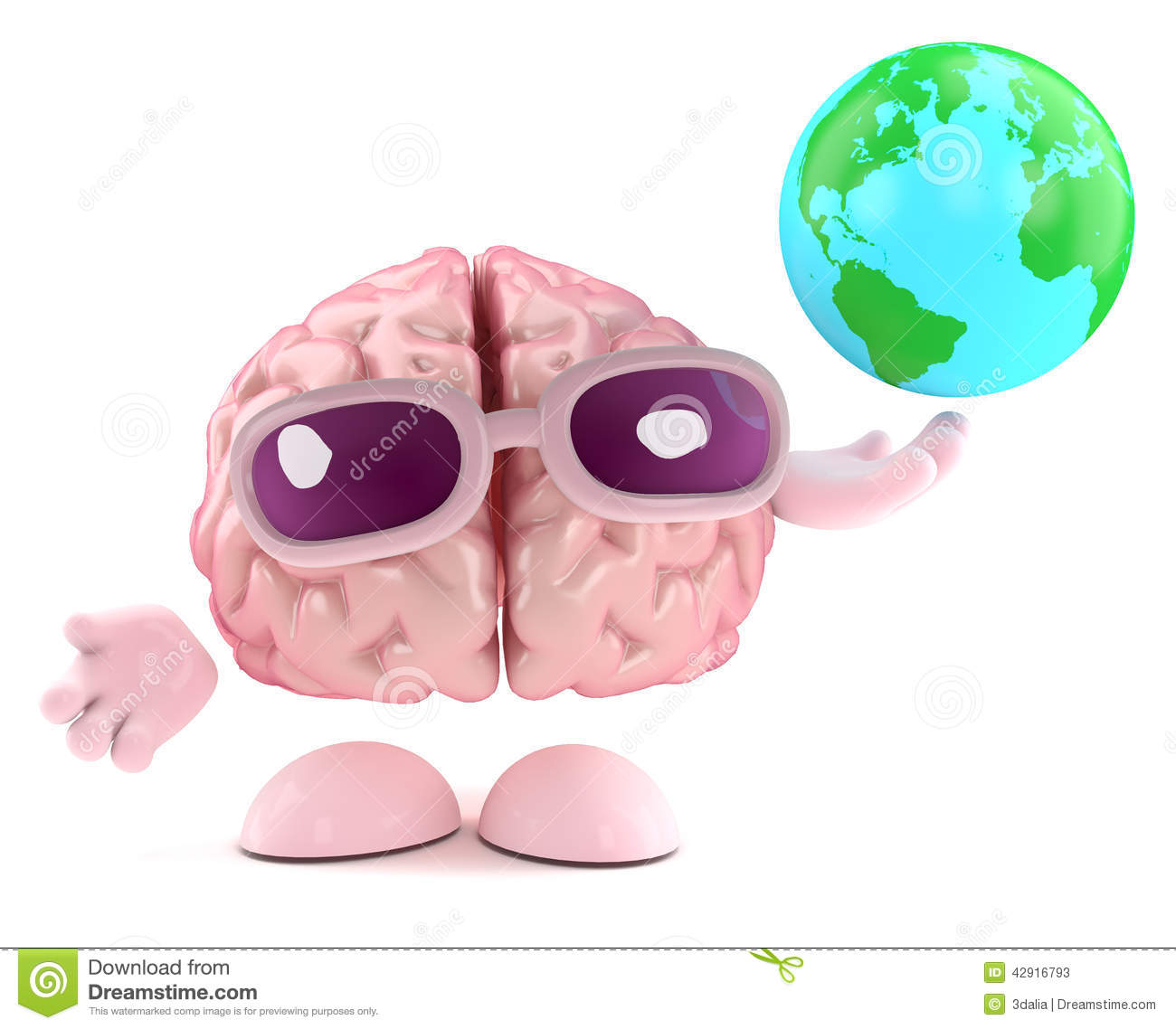 3d Brain character holds a globe of the Earth