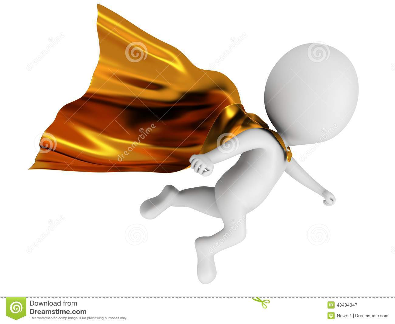 3d small people as super hero stock image image 29971731 - 3d Brave Superhero With Gold Cloak Flying Above Royalty Free Stock Photography