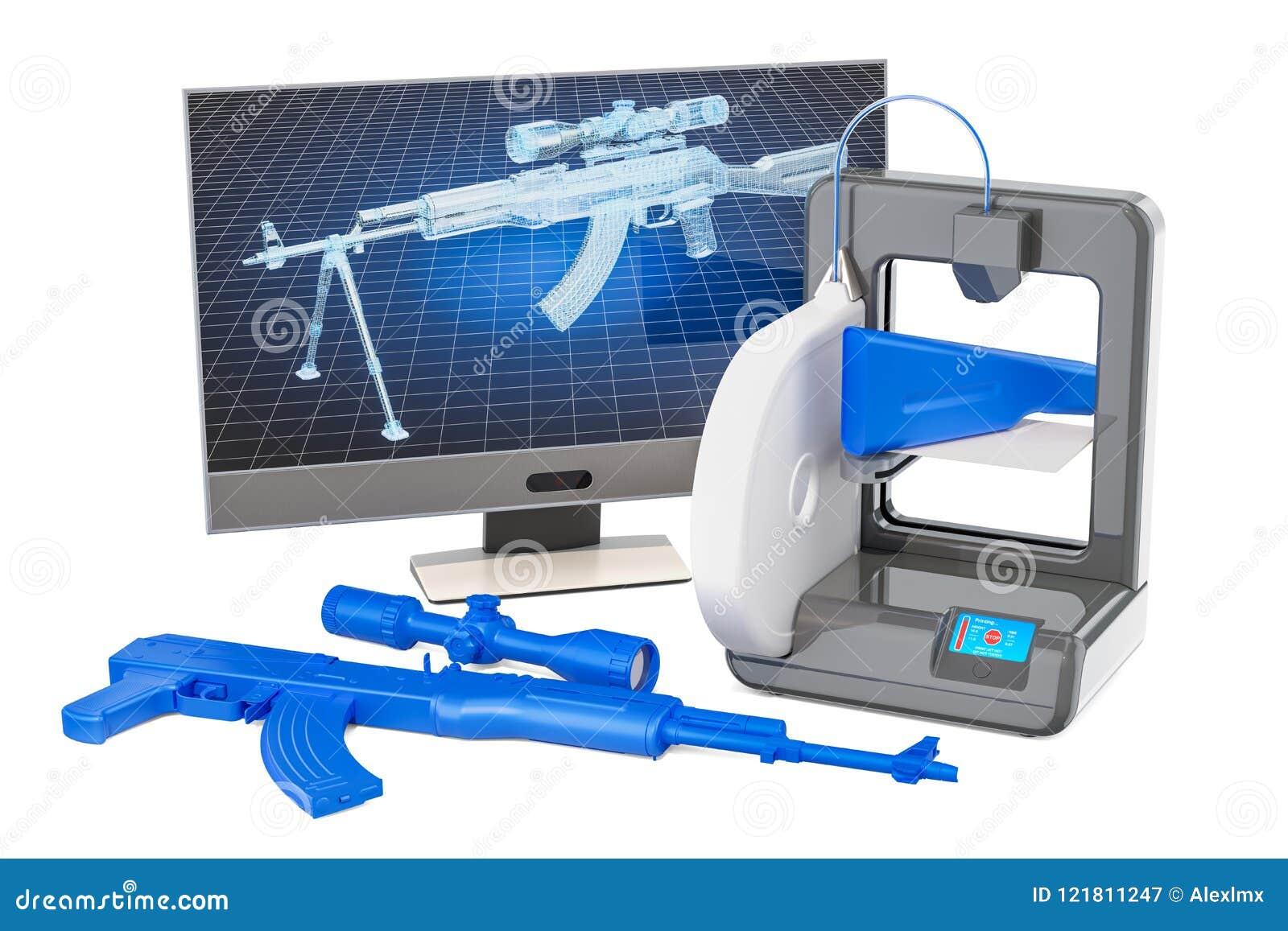 3d broni palnych drukowany pojęcie, 3D rendering