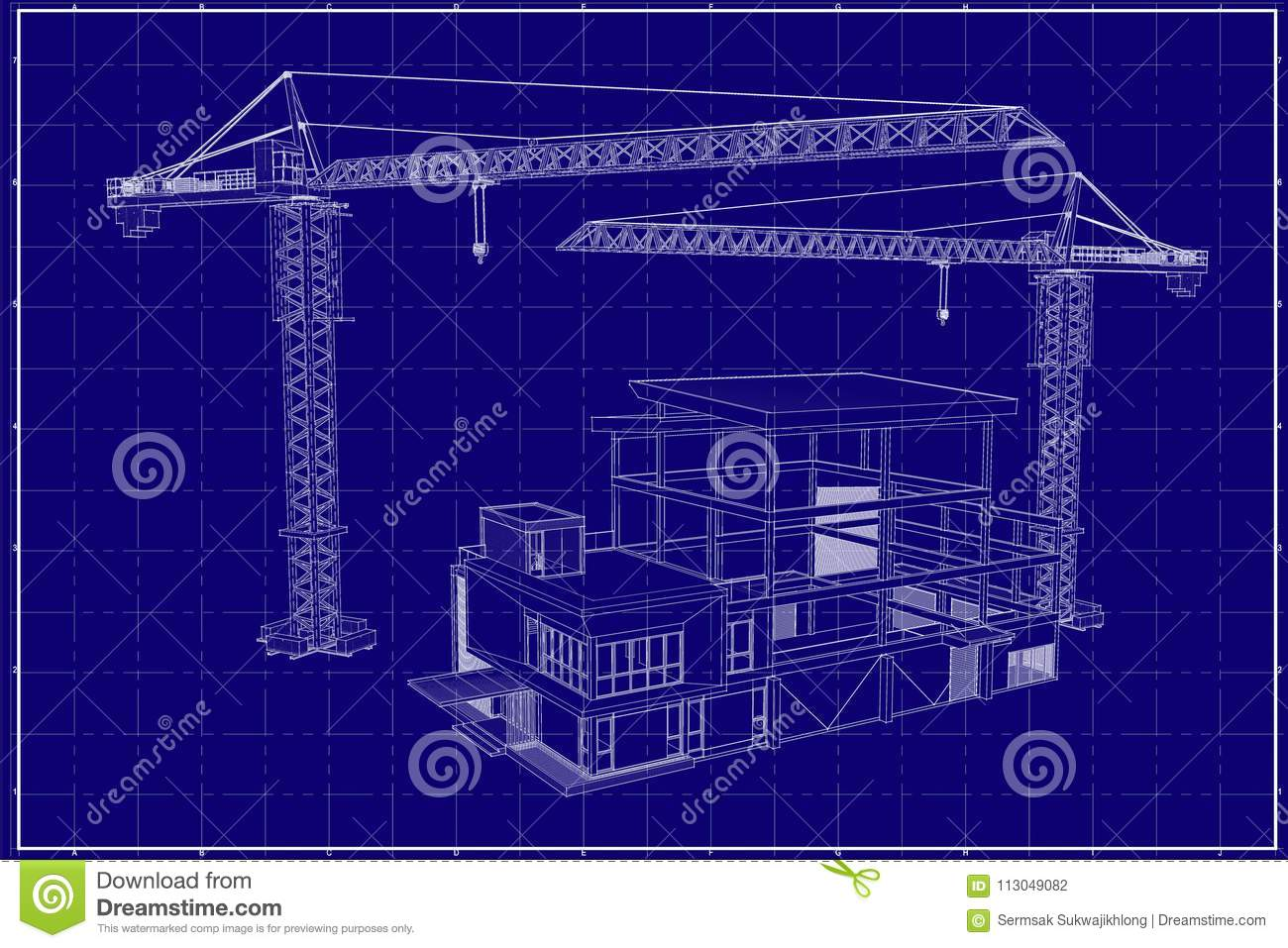 3d building on blueprint stock illustration illustration of download 3d building on blueprint stock illustration illustration of warehouse 113049082 malvernweather Image collections