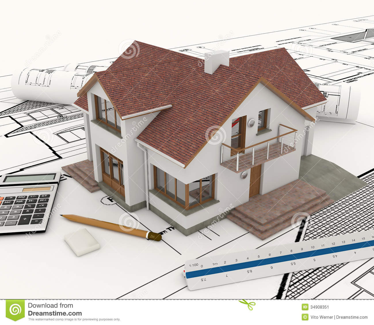 3d building with blueprint plans stock image image 34908351 for Blueprint estimator