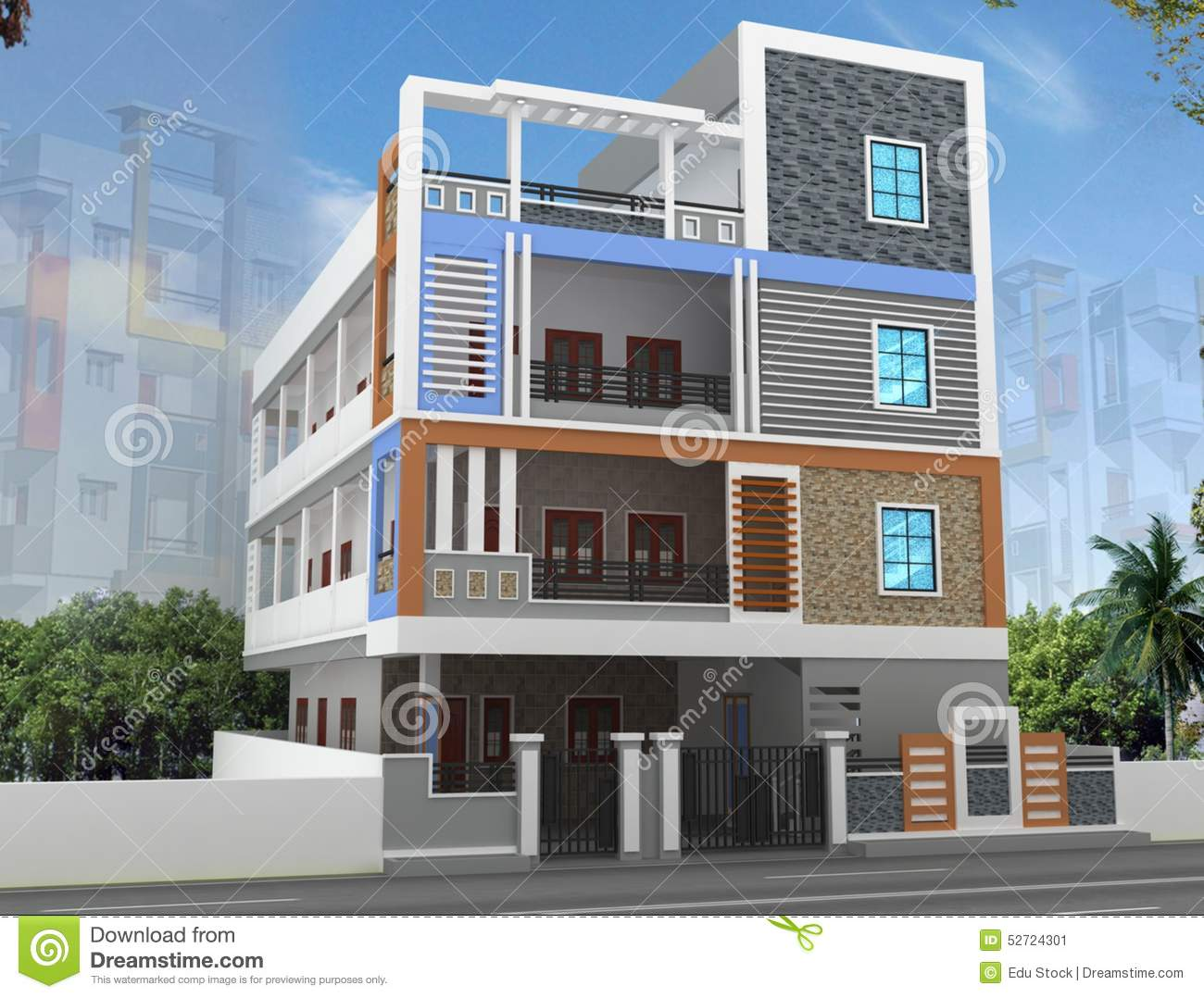 3d building elevation design stock illustration for House design and construction