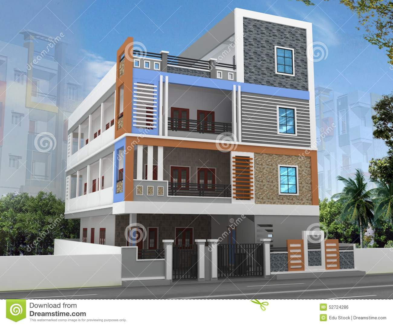 3d building elevation stock photo image of industry 3d house building