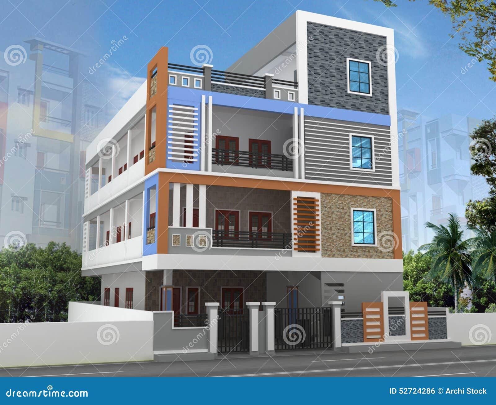 3D Building Elevation Stock Photo Image 52724286