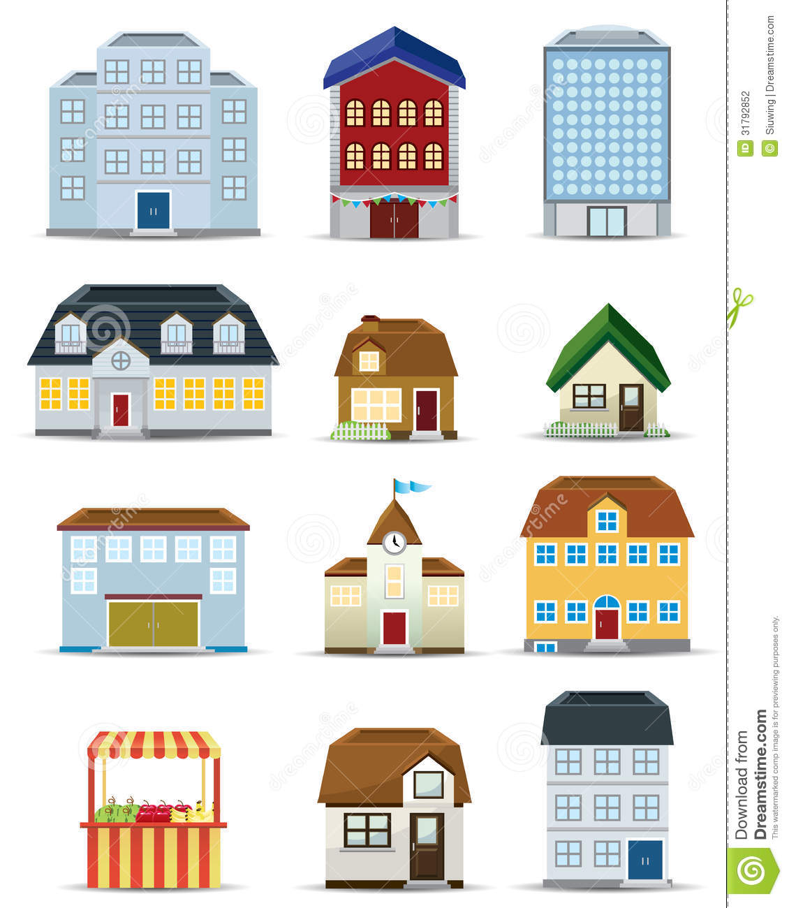 3d building icon set stock vector illustration of for Free home builder