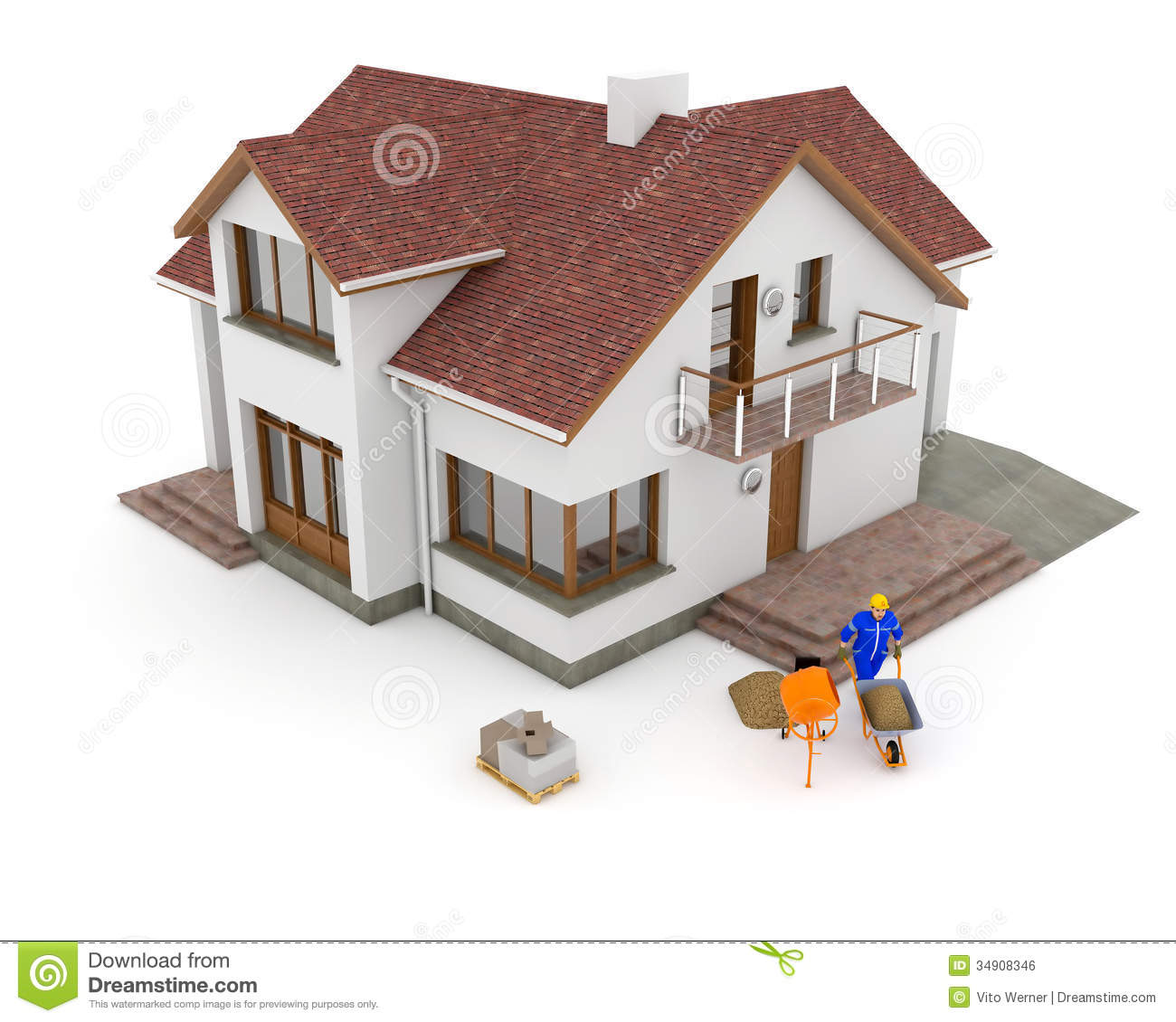 3d building renovation stock illustration image of House plan drawing 3d