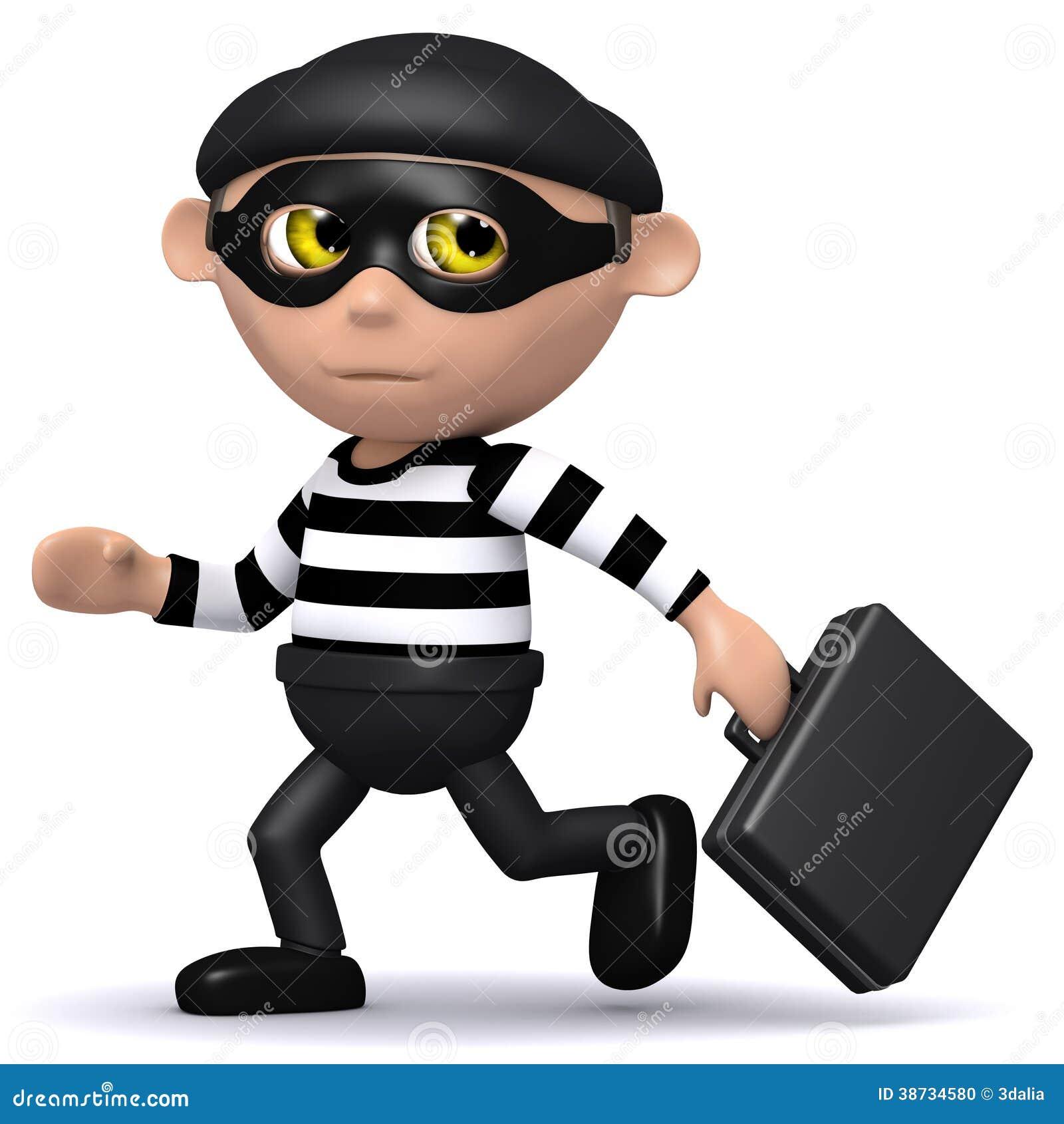 3d Burglar runs off with briefcase