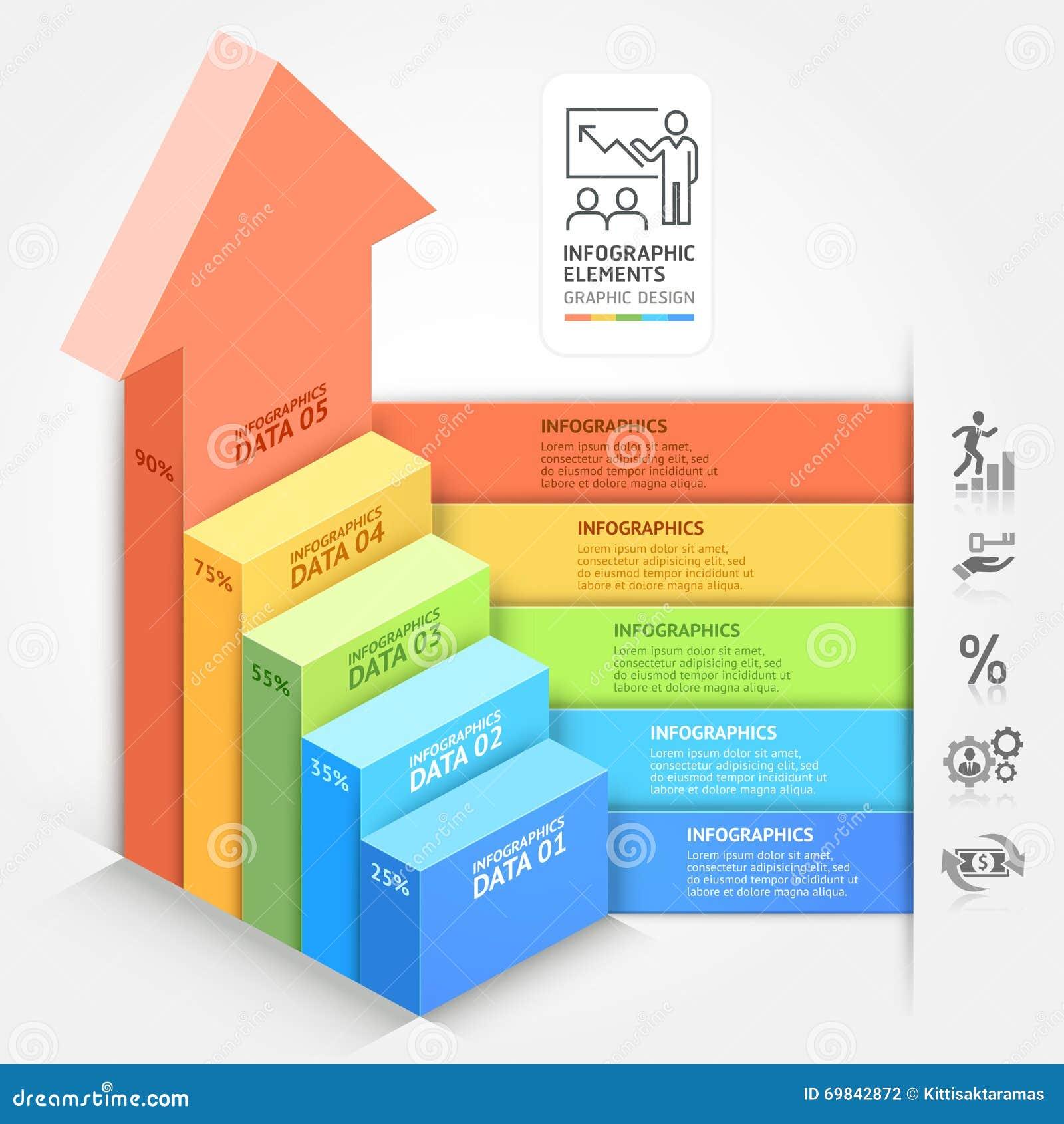 3d business arrows staircase diagram template stock vector