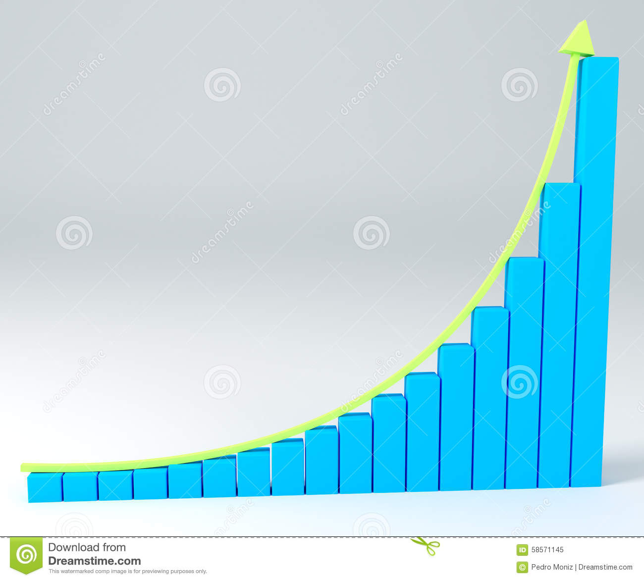 3D Business Graph With Arrow Up Stock Illustration - Image ...