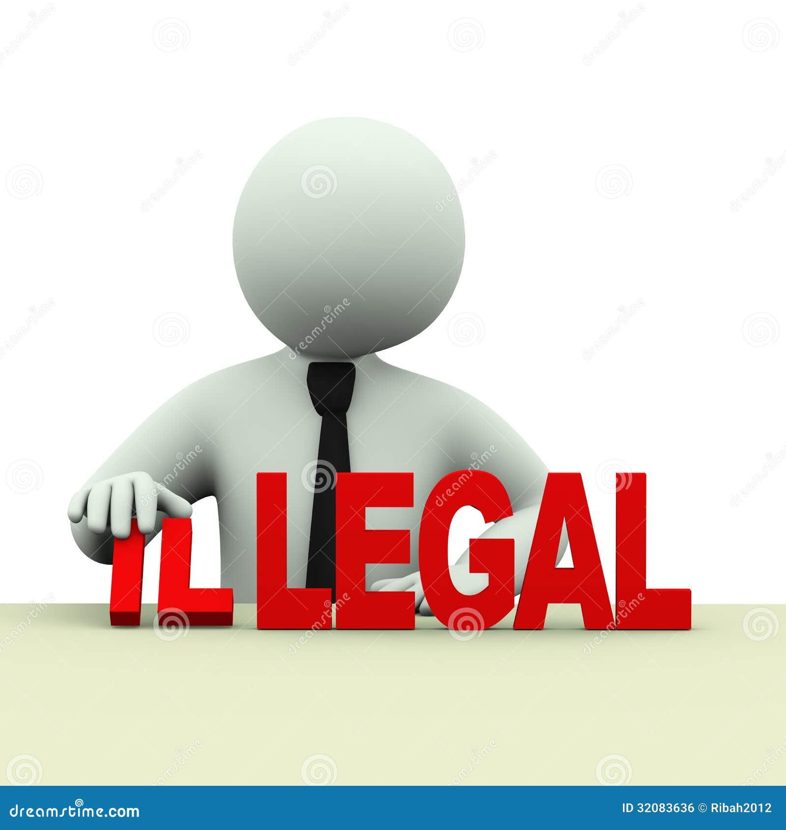 3d business man illegal legal words stock illustration