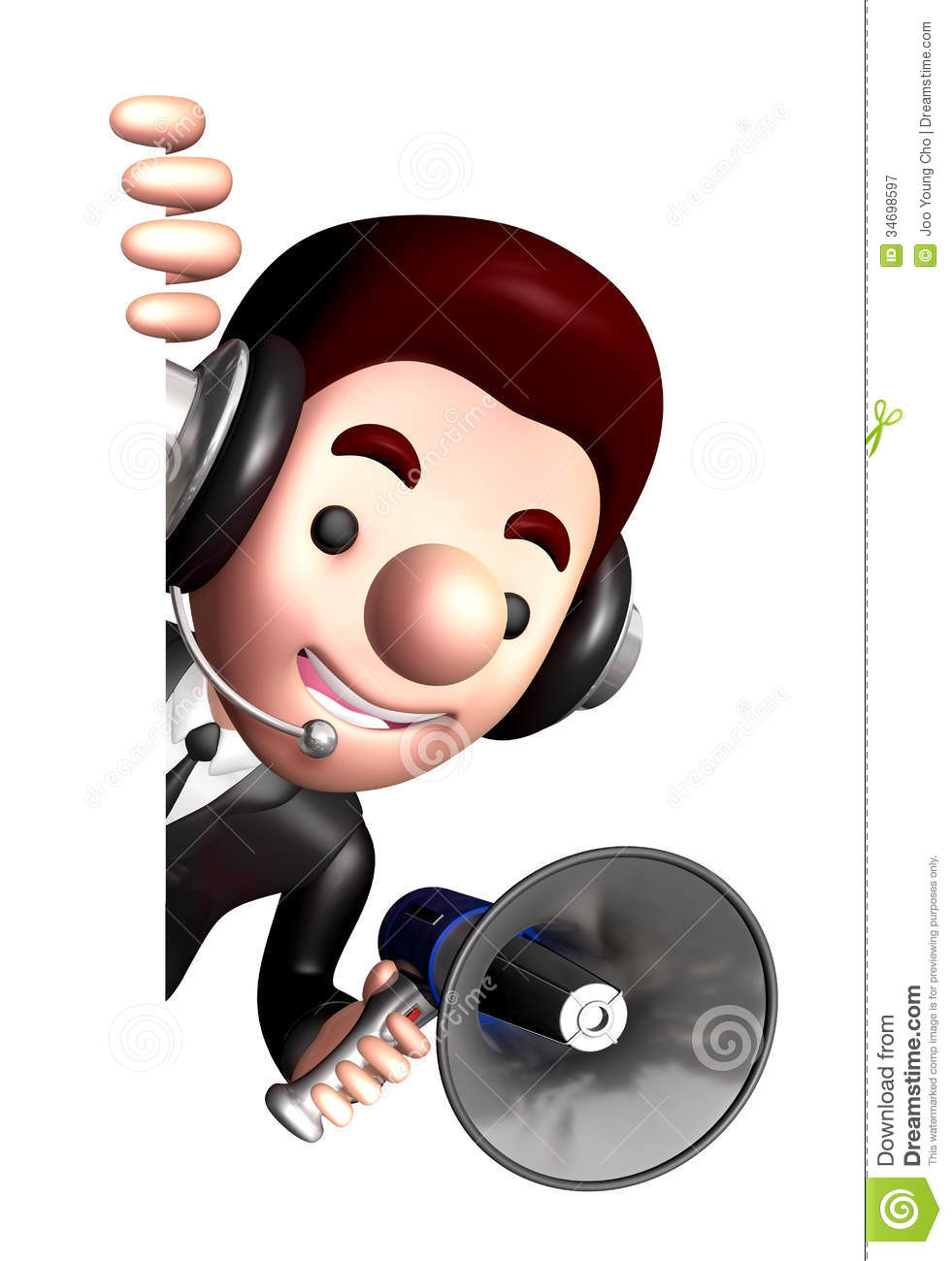 3d business man mascot the hand is holding a loudspeaker for Character designer job